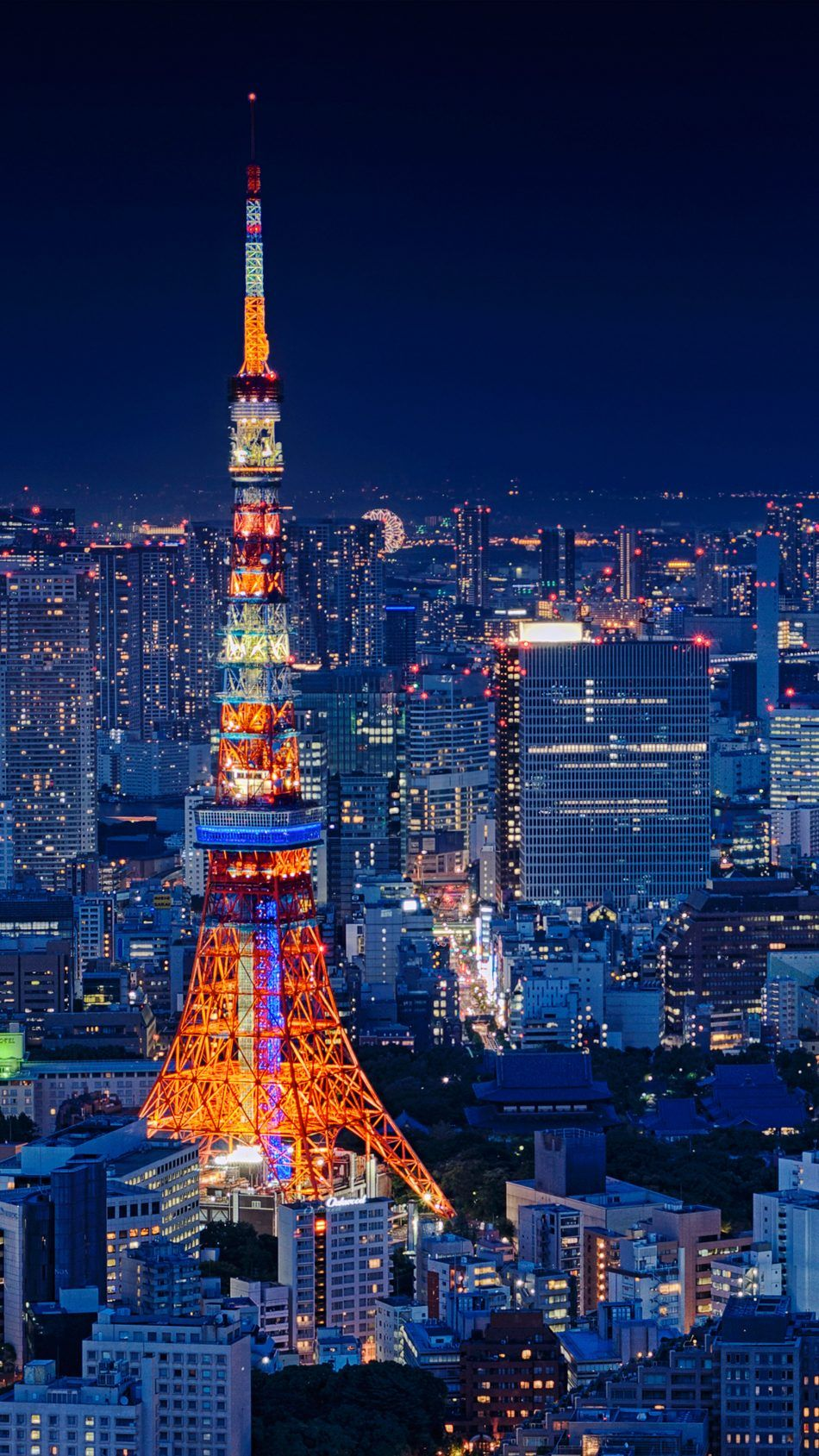 950x1689 Download Tokyo Tower Japan Night Cityscape Free Pure 4K Ultra HD ...
