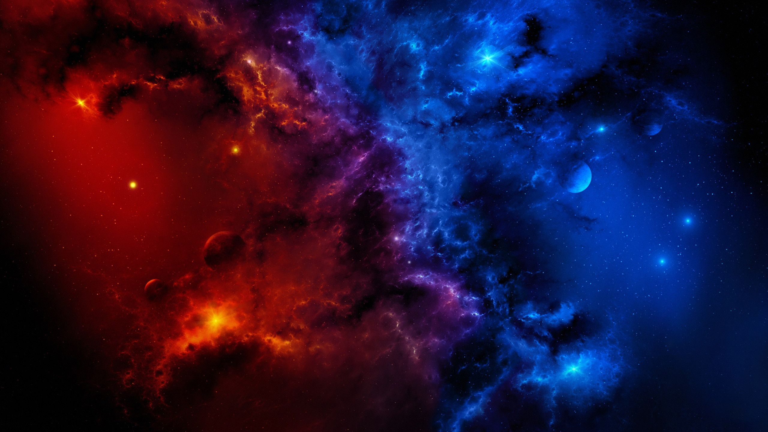 2560x1440 Red And Blue Galaxy Wallpaper Hd