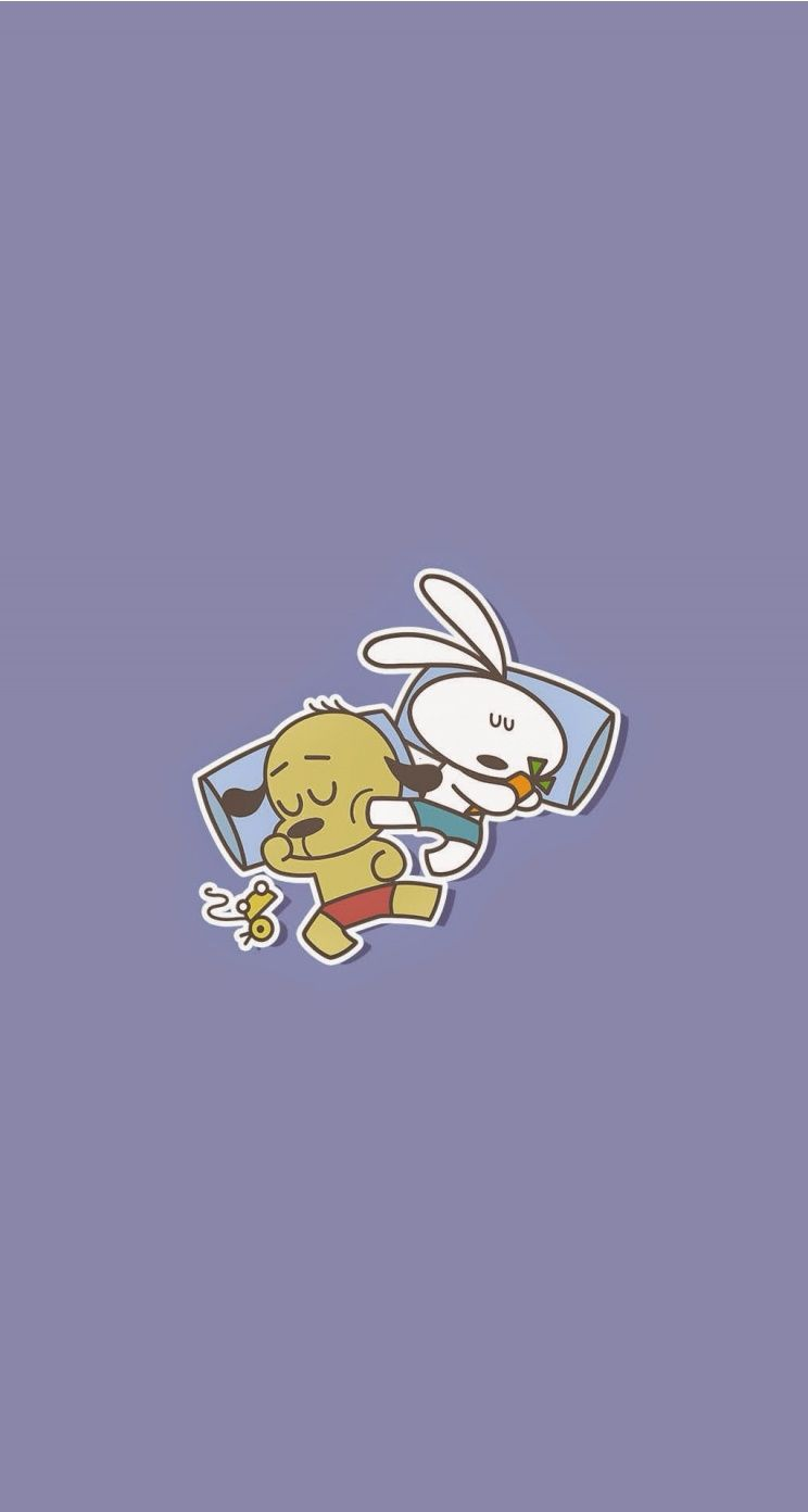 744x1392 Cute sleeping Bunny and the dog wallpaper for iPhone. Tap to see ...