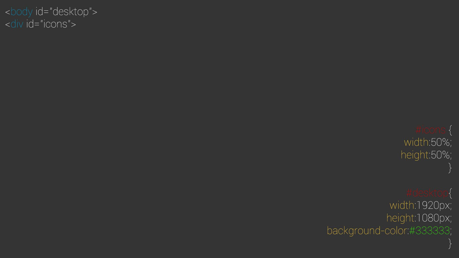 1920x1080 v2]Minimalist, highlighted HTML-CSS code style [1920x1080] : wallpaper