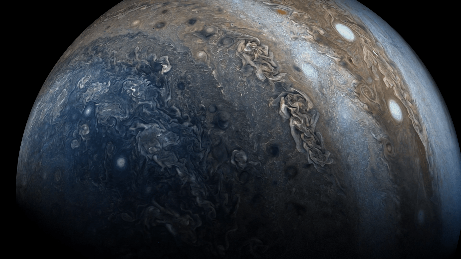 1920x1080 Wallpapers of Jupiter (From the Juno Perijove 06 Flyby) : wallpapers