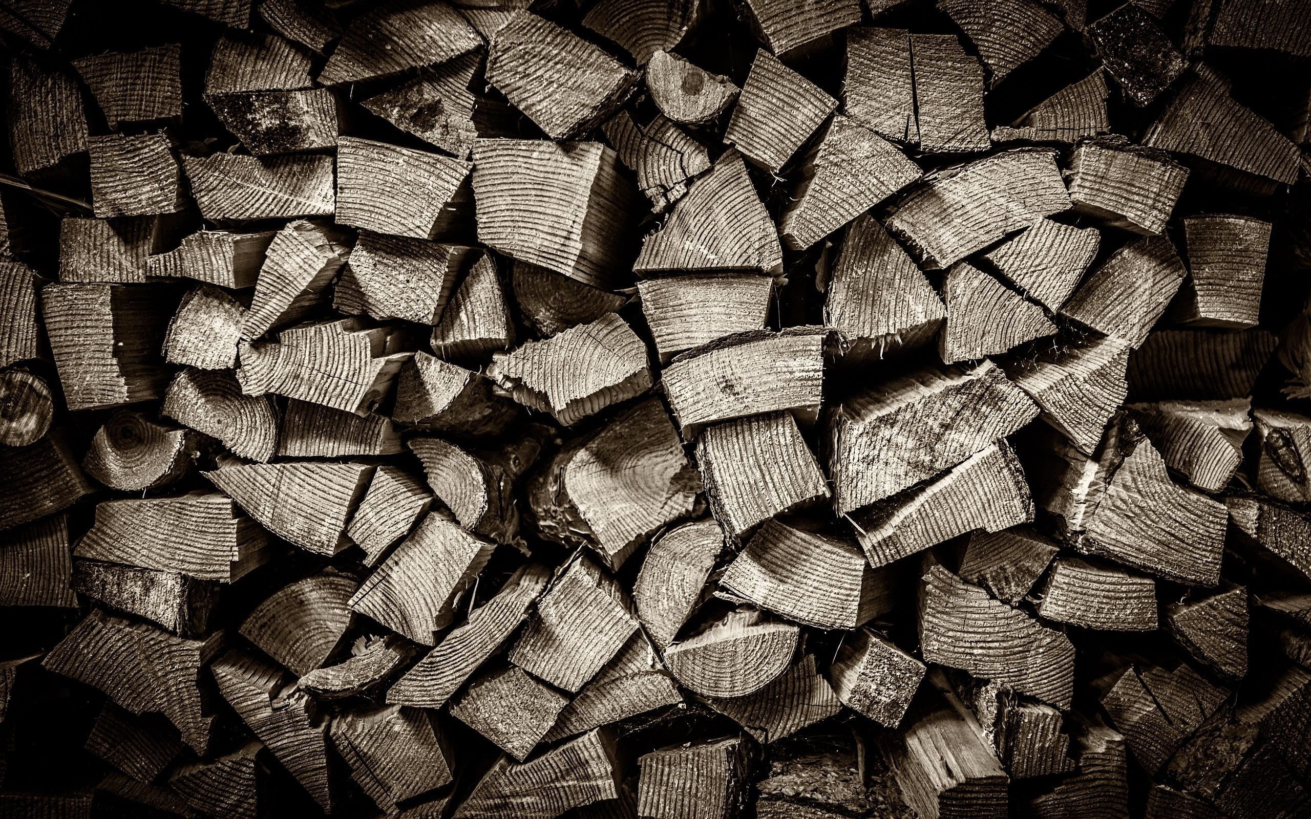 2560x1600 Wallpaper of Pile of Wood, black and white, wood Desktop Picture ...