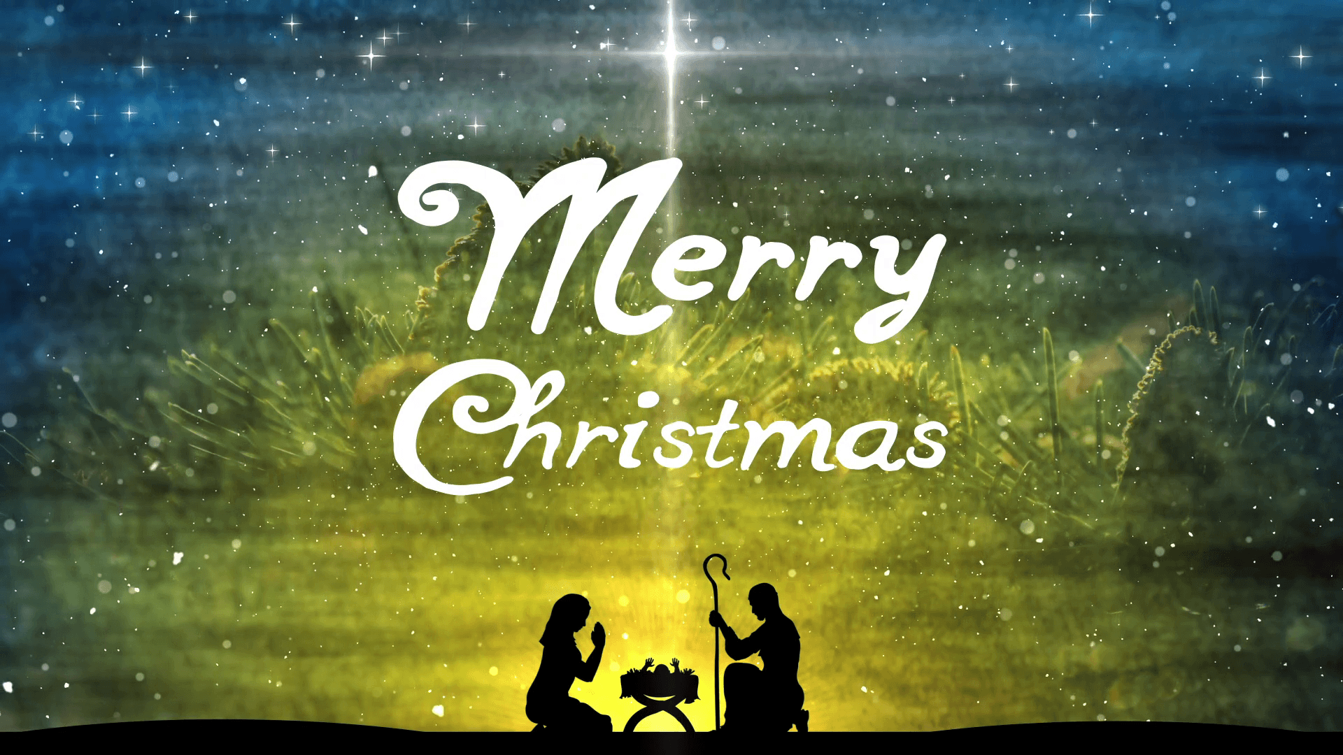 1920x1080 Merry Christmas Title Background. Christmas Nativity Video Motion ...