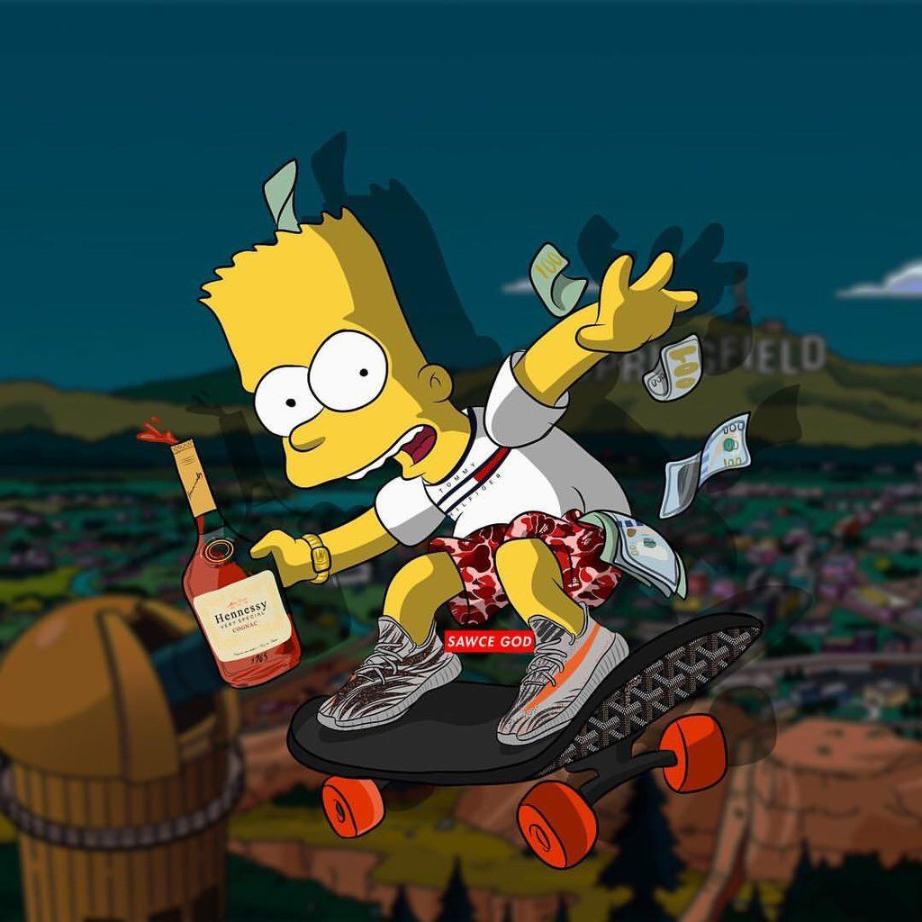 1024x1024 Similiar Supreme BAPE Bart Simpson Wallpaper Keywords