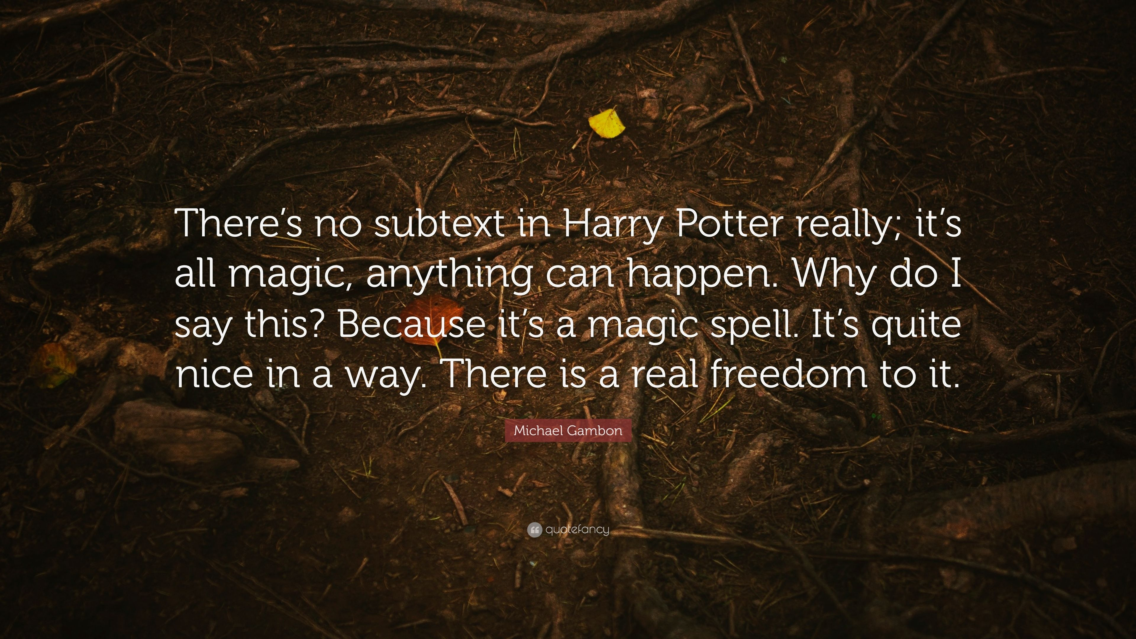 """3840x2160 Michael Gambon Quote: """"There's no subtext in Harry Potter really ..."""