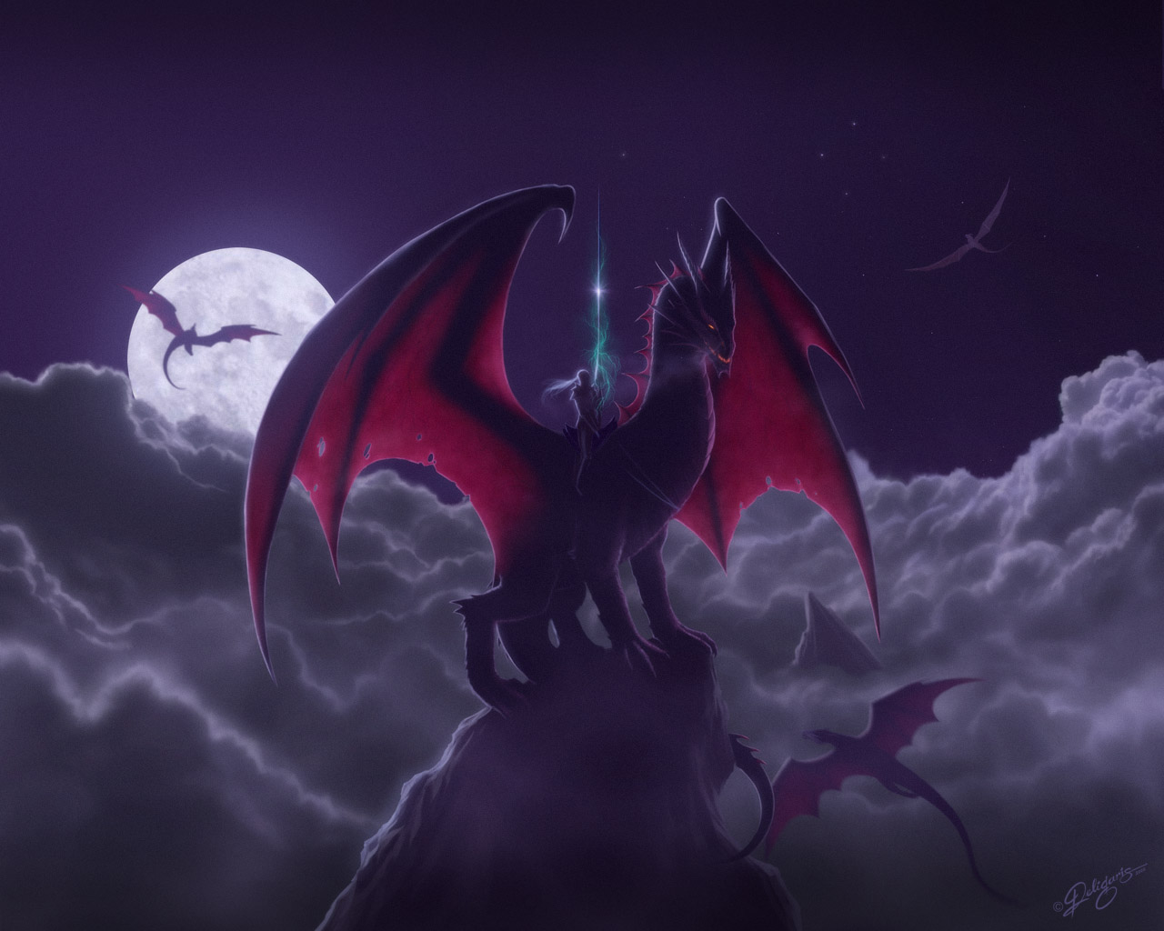 1280x1024 Night Clouds Dragons wallpaper from Dragons wallpapers