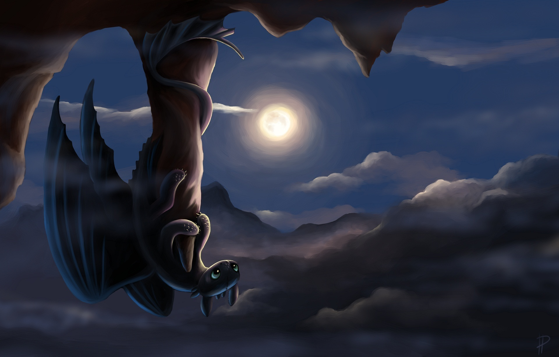 1920x1228 Pictures How to Train Your Dragon Dragons Cartoons Moon Night