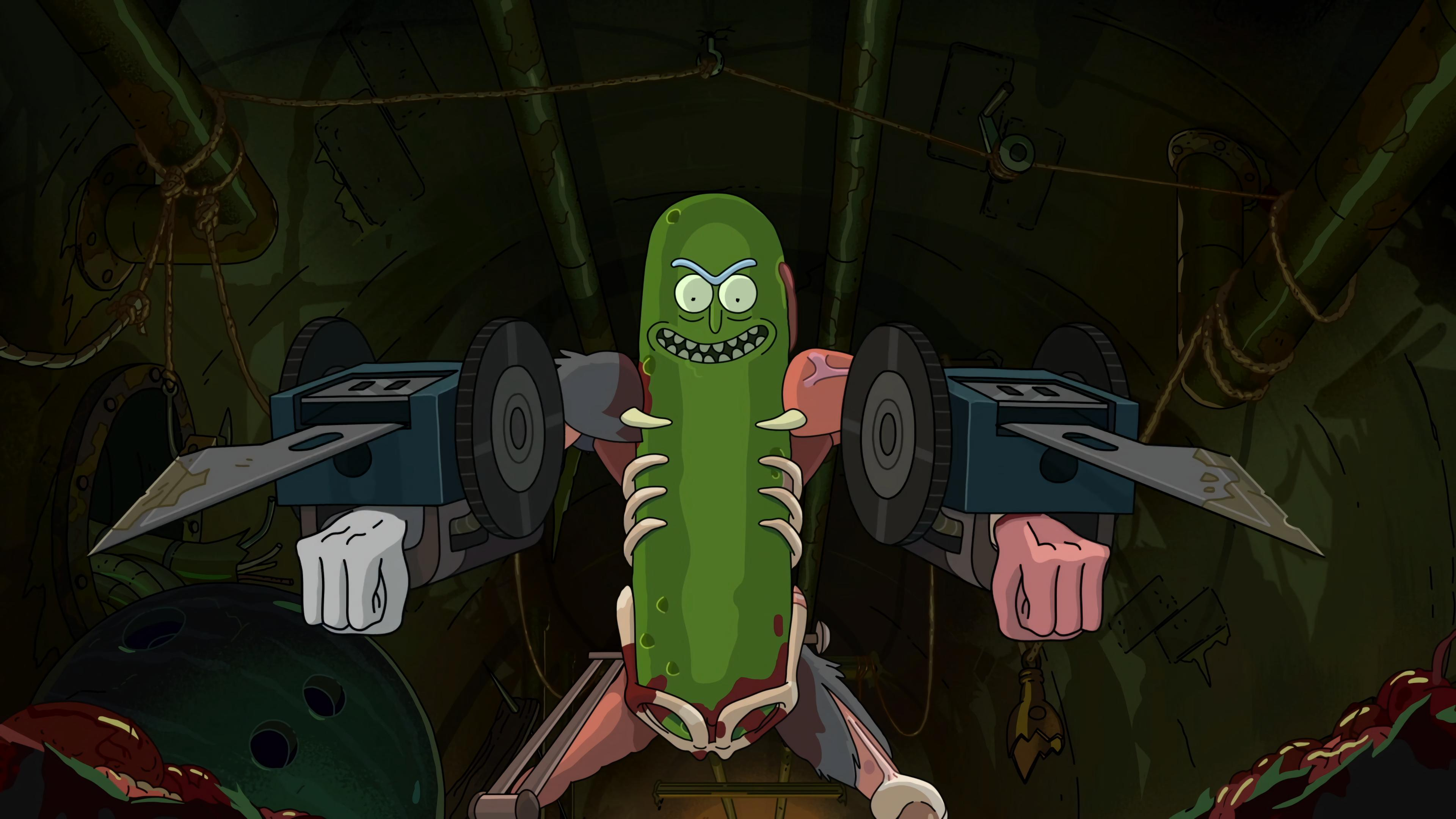 3840x2160 4K Pickle Rick Wallpaper (upscaled from FHD with waifu2x) : rickandmorty