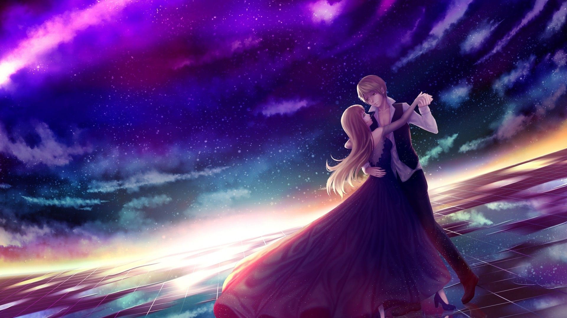 1920x1080 Download 1920x1080 Anime Couple, Dancing, Stars, Sky, Romance, Dress ...