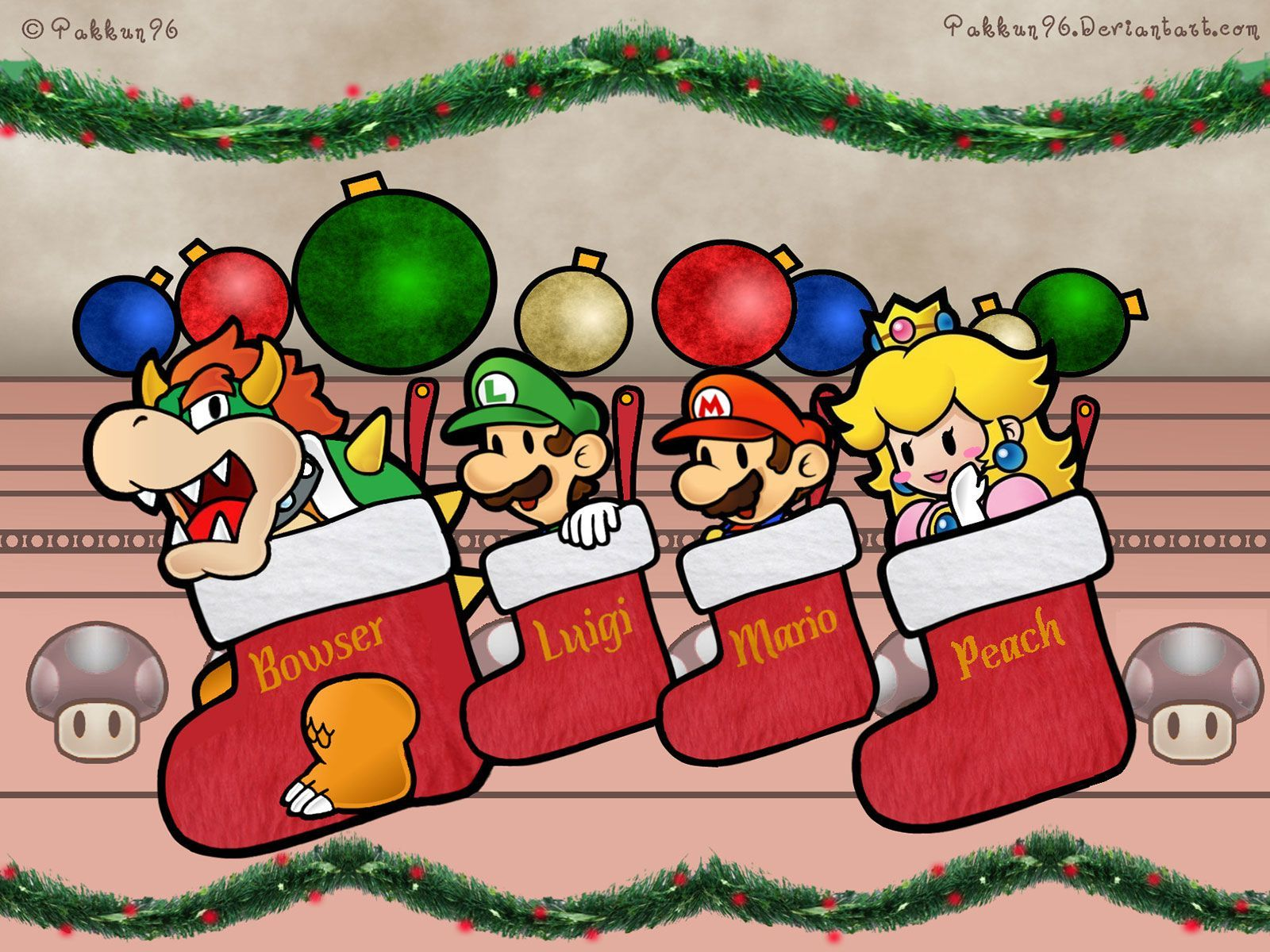 1600x1200 Super Mario Characters In Christmas Socks Wallpaper | Video Game ...
