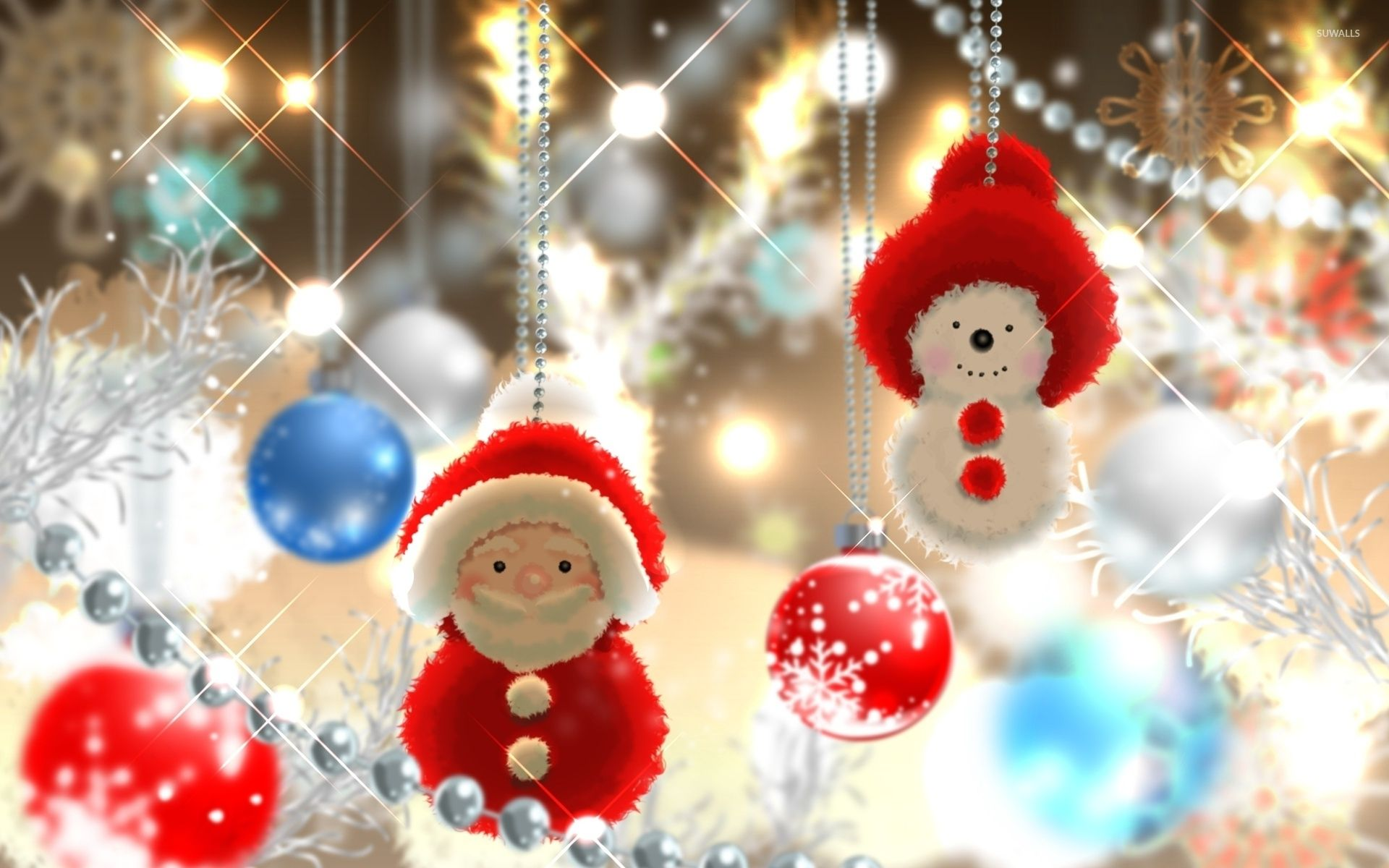 1920x1200 Cute Santa and snowman in the Christmas tree wallpaper - Holiday ...