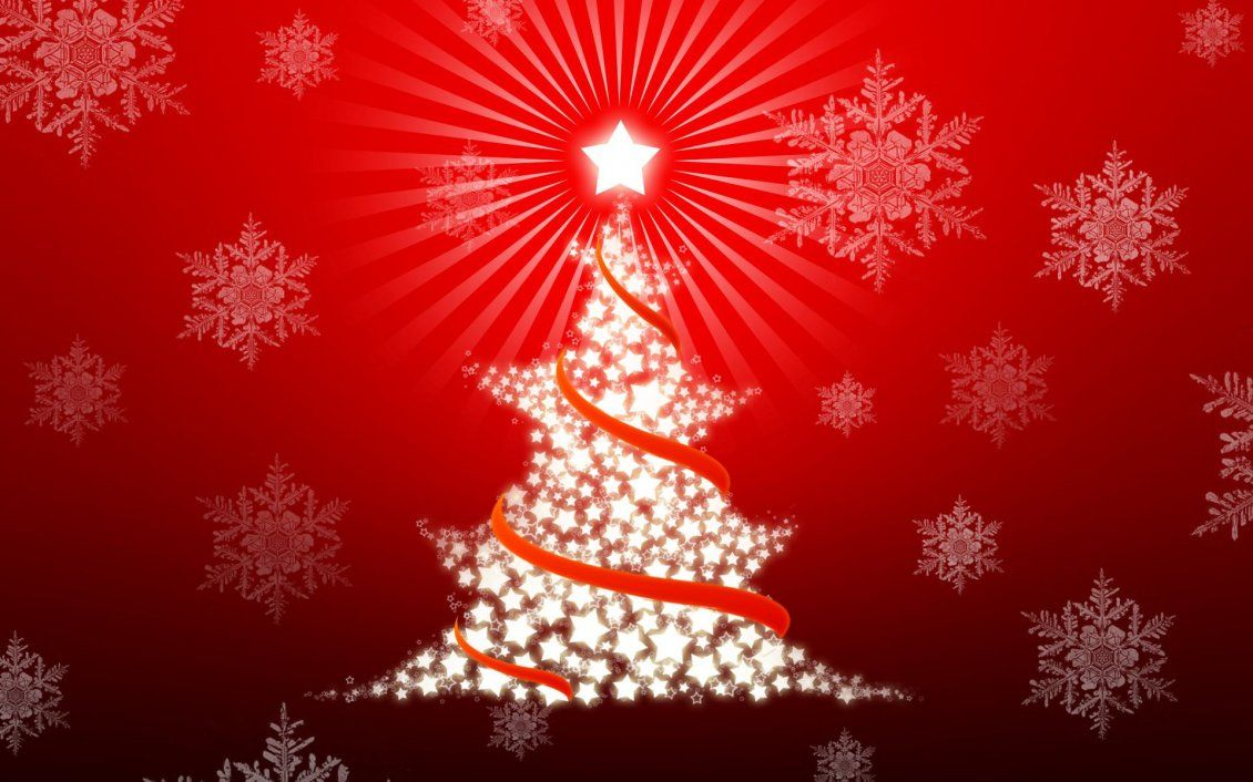 1130x706 Cute red Christmas tree made by stars - Happy Holiday