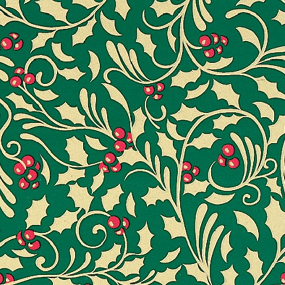1000x1000 Golden Holly Gift Wrap | Innisbrook Wrapping Paper