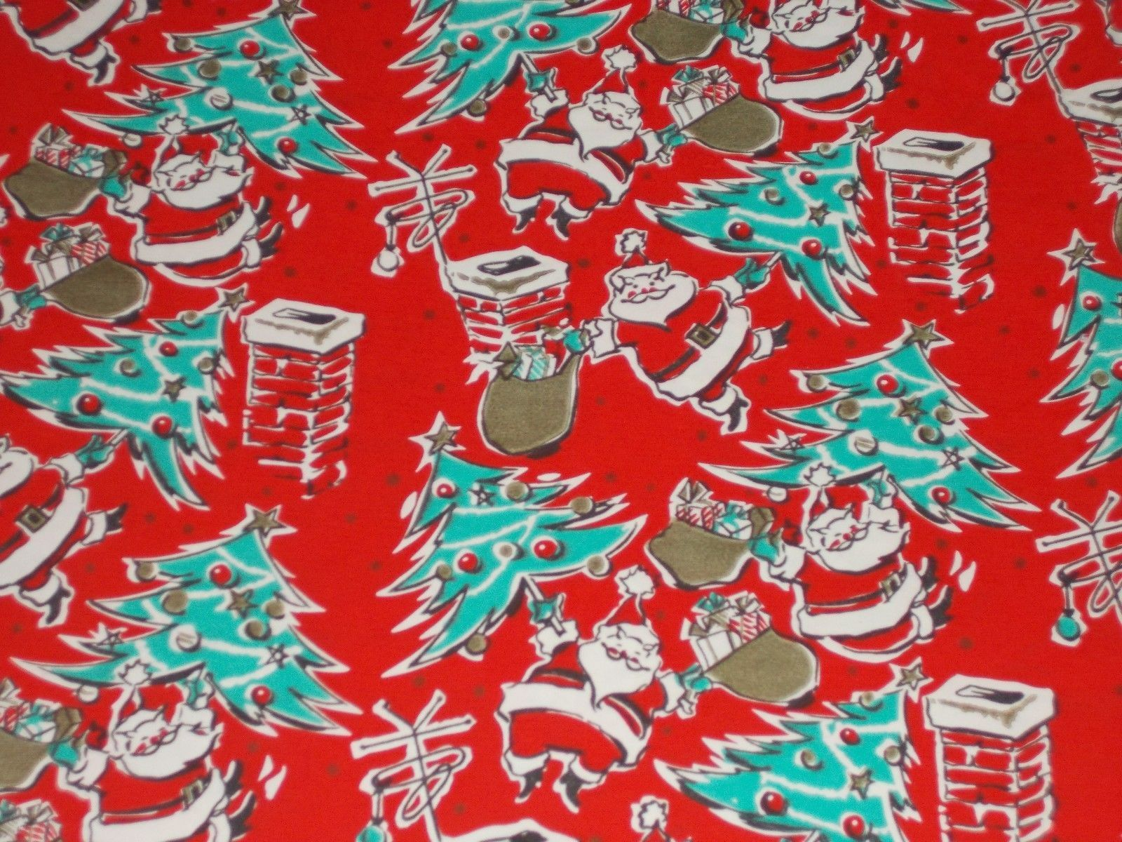 1600x1200 VTG CHRISTMAS WRAPPING PAPER GIFT WRAP MID CENTURY SANTA CLAUS TREE ...