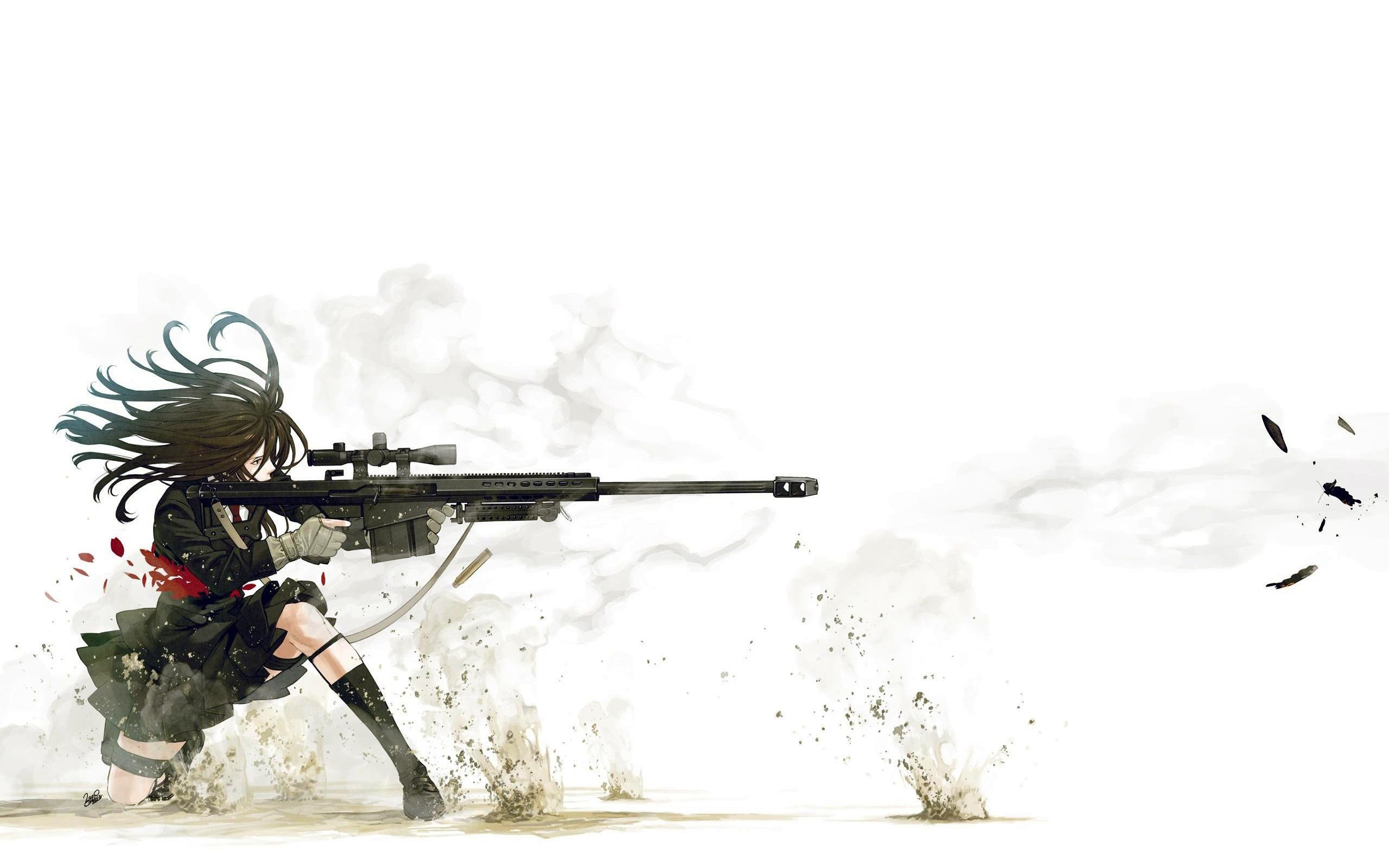 2560x1600 School uniforms snipers anime action simple background Kozaki Yusuke ...