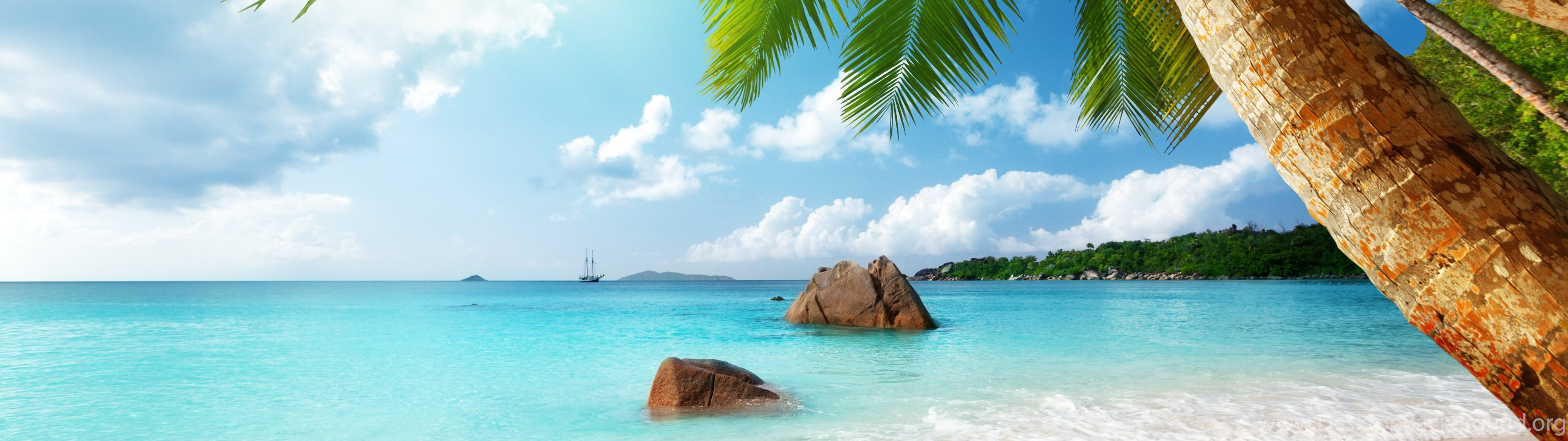3840x1080 Beach Live Wallpapers Free Download A35 Desktop Background