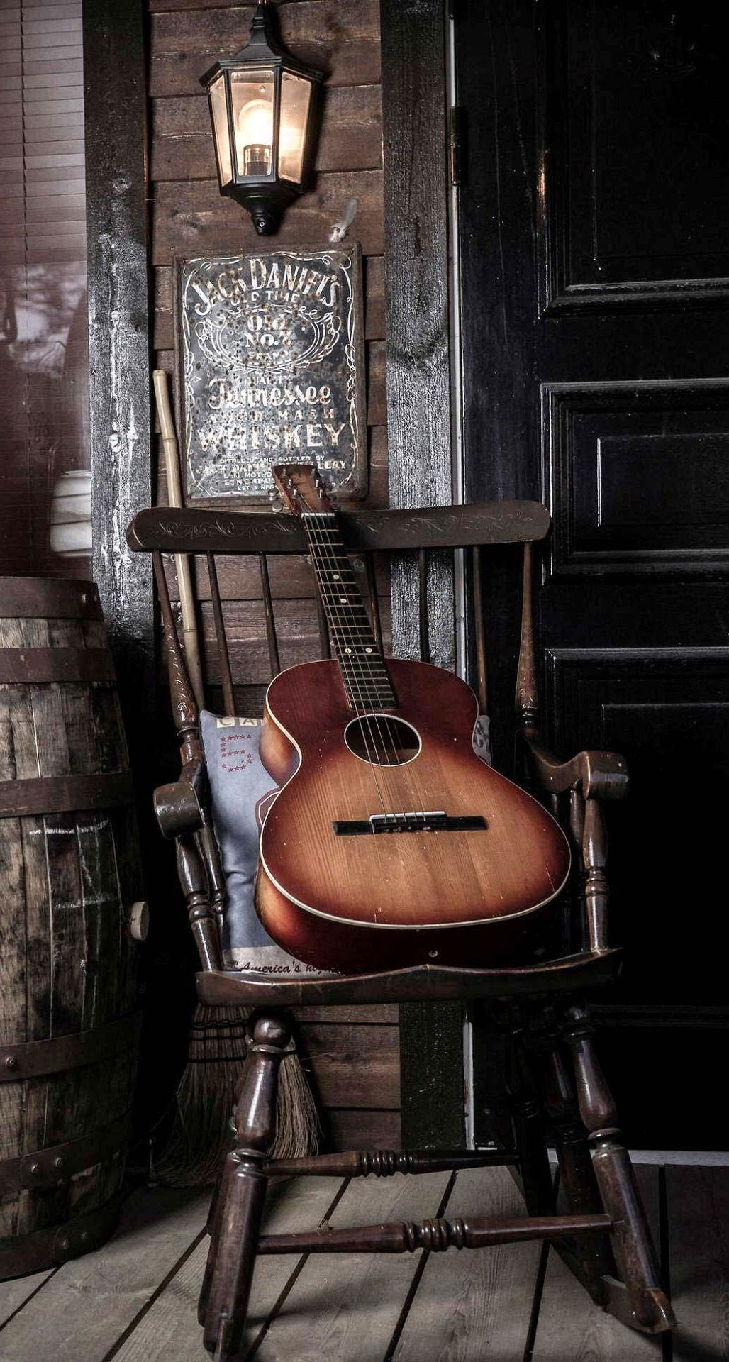 0x0 Old Guitar On Chair Android Wallpaper free download