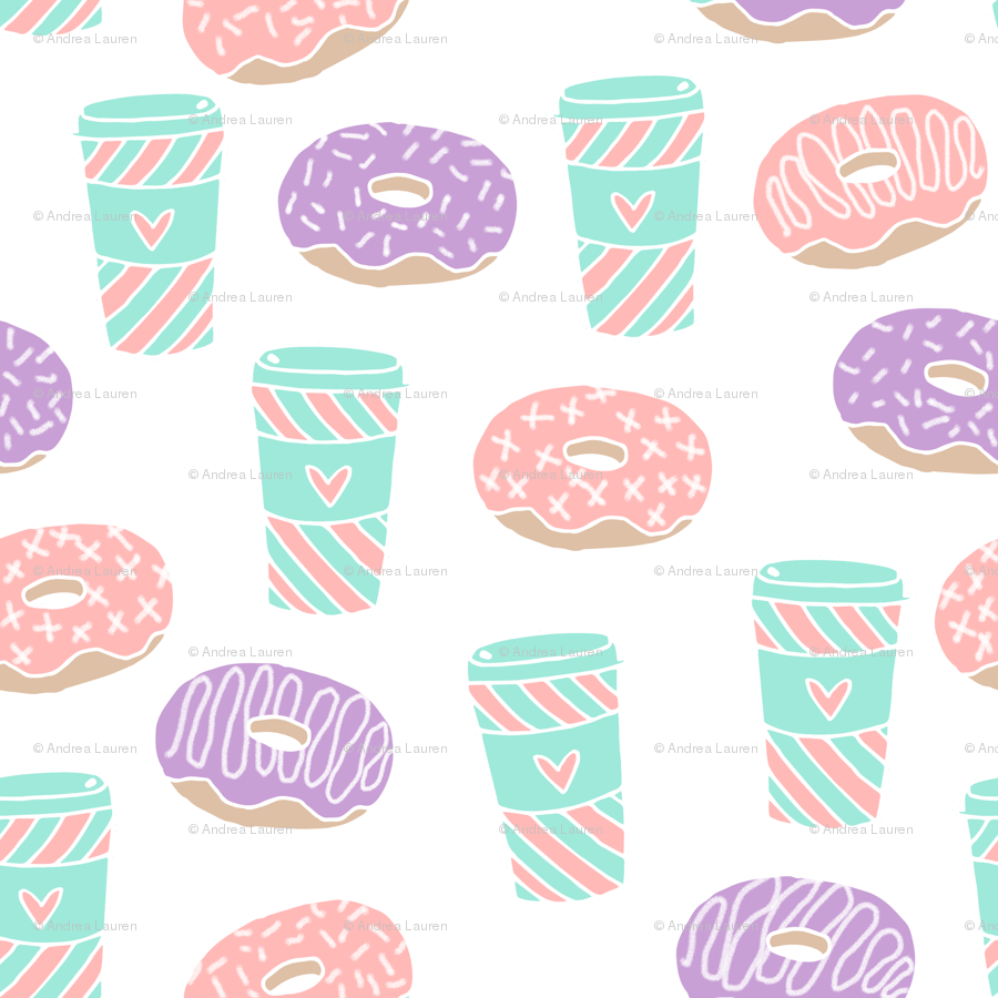 900x900 coffee and donuts // latte coffee drink sweets pastel mint pink ...