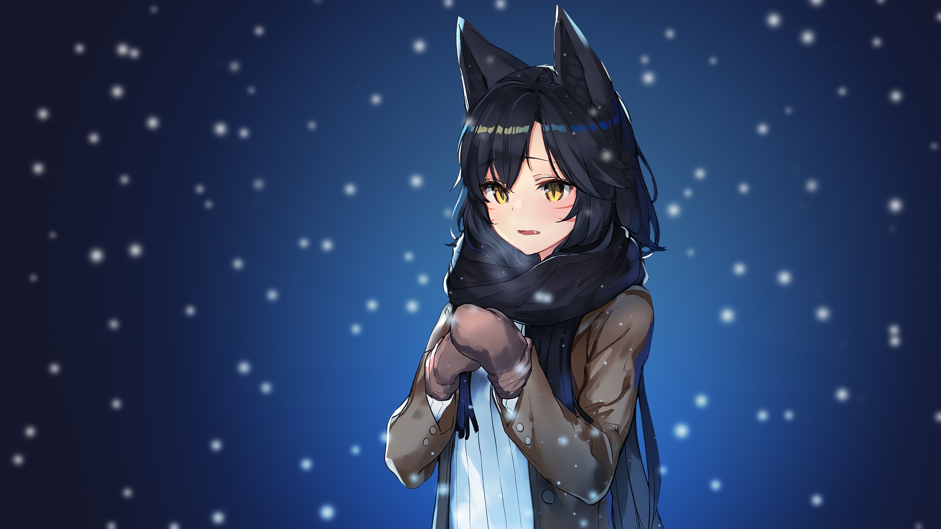 3840x2160 Wallpaper League Of Legends, Ahri, Snow, Scarf, Anime Style ...