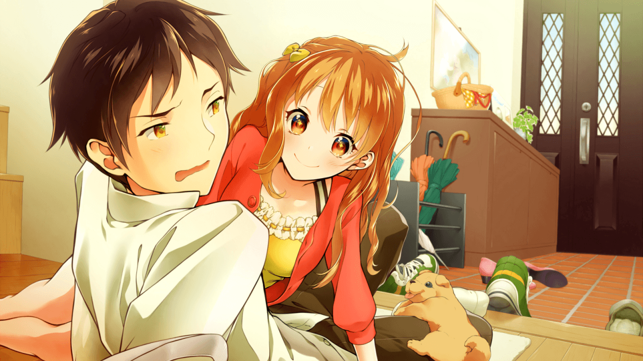 1280x720 Download 1280x720 Anime Couple, Romance, Lying Down Wallpapers ...