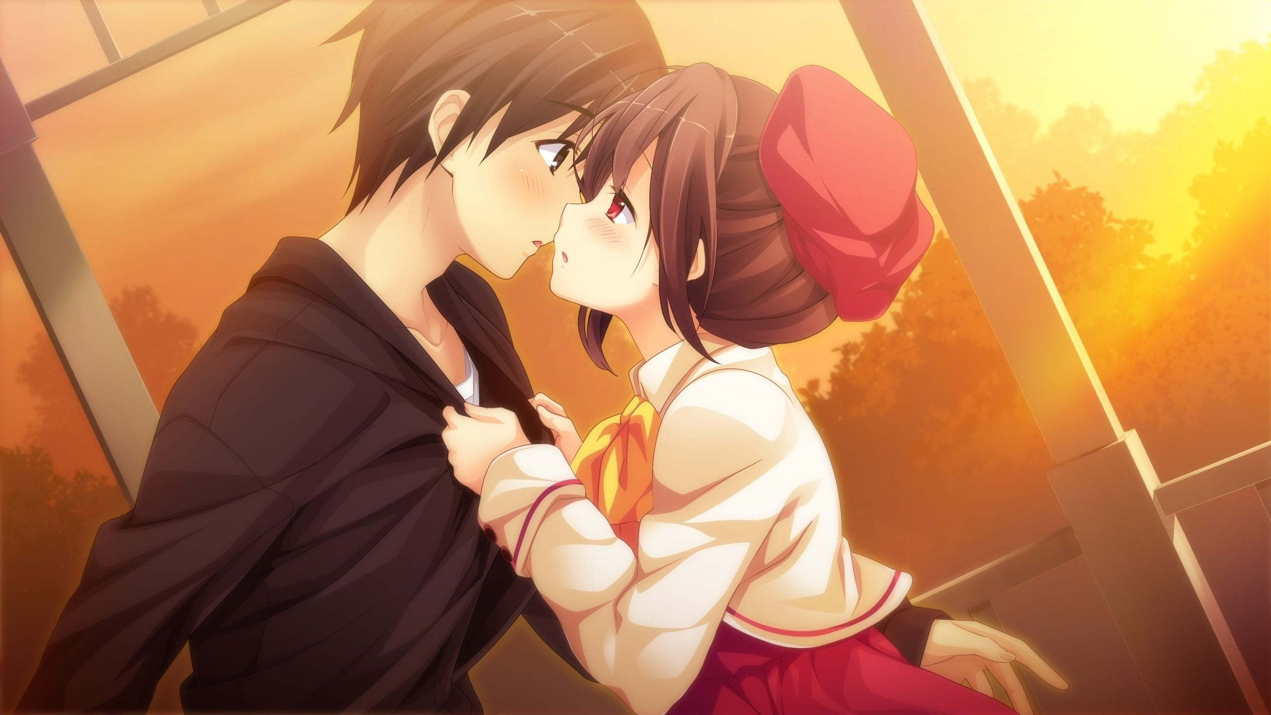 2560x1440 Wallpaper Anime Couple, Romance, Sunset - WallpaperMaiden