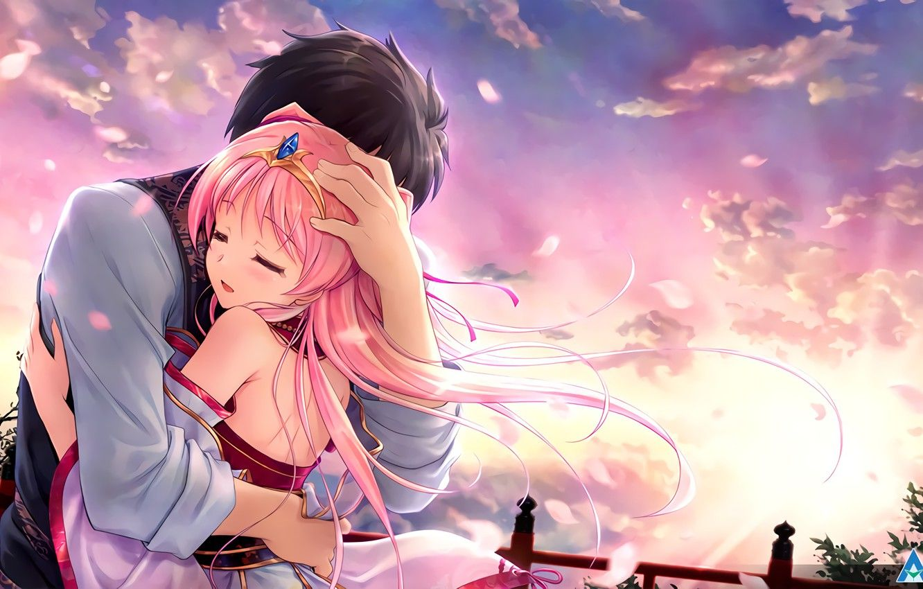 1332x850 Wallpaper girl, romance, anime, art, guy, two, hug, Tsukisome well ...