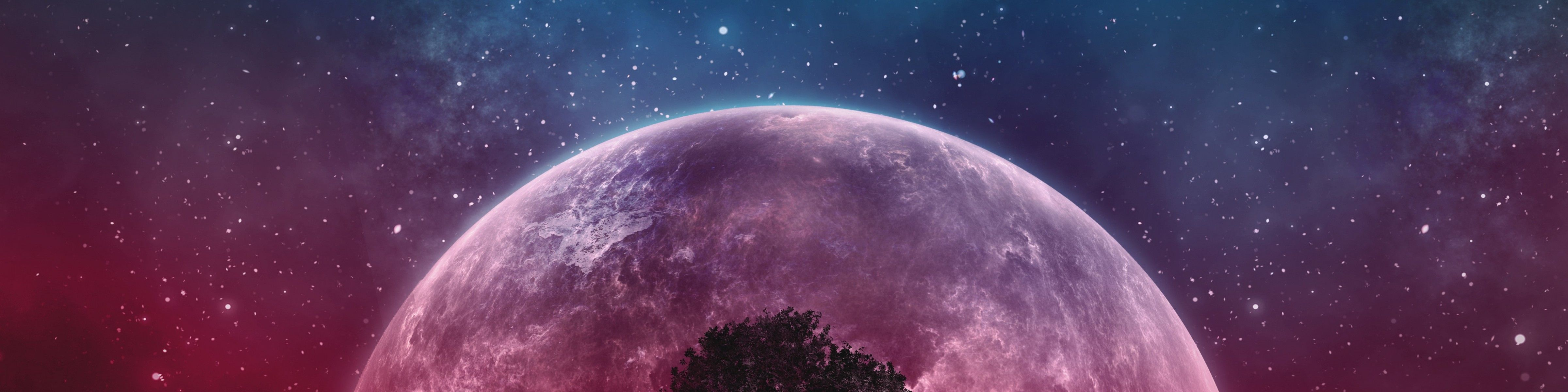 4800x1200 Wallpaper Tree, Planet, Stars, Galaxy, Art 4800x1200 - Wallpapers Haze