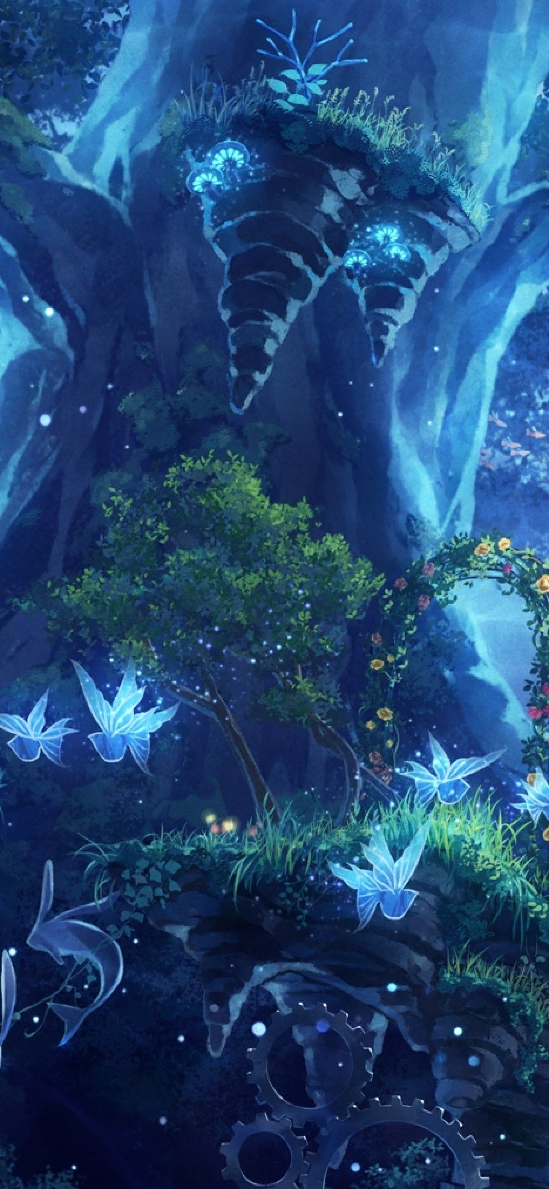1125x2436 Download 1125x2436 Anime Girl, Fairy Forest, Butterflies, Plants ...