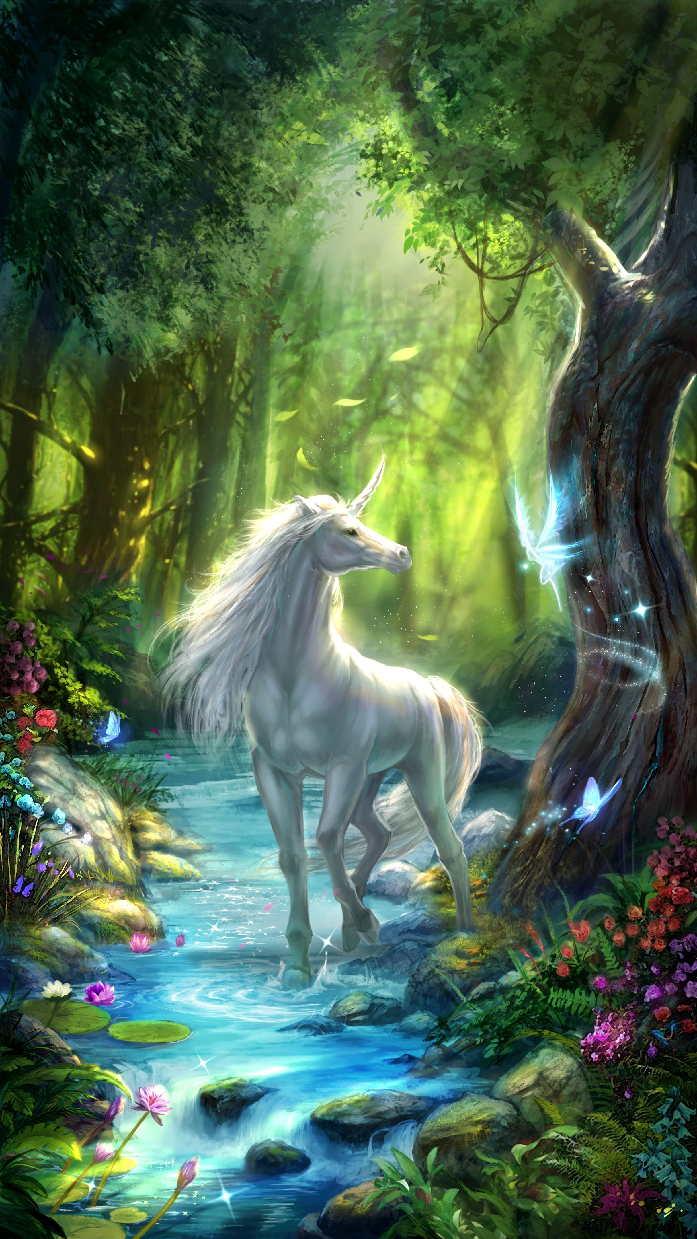 2431x4319 Unicorn live wallpaper, white unicorn in the fairy forest, very ...