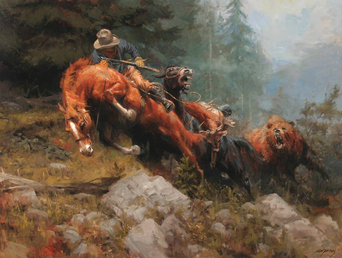 1358x1024 Wallpapers Horses Man Andy Thomas, Grizzly Mountain Pictorial art