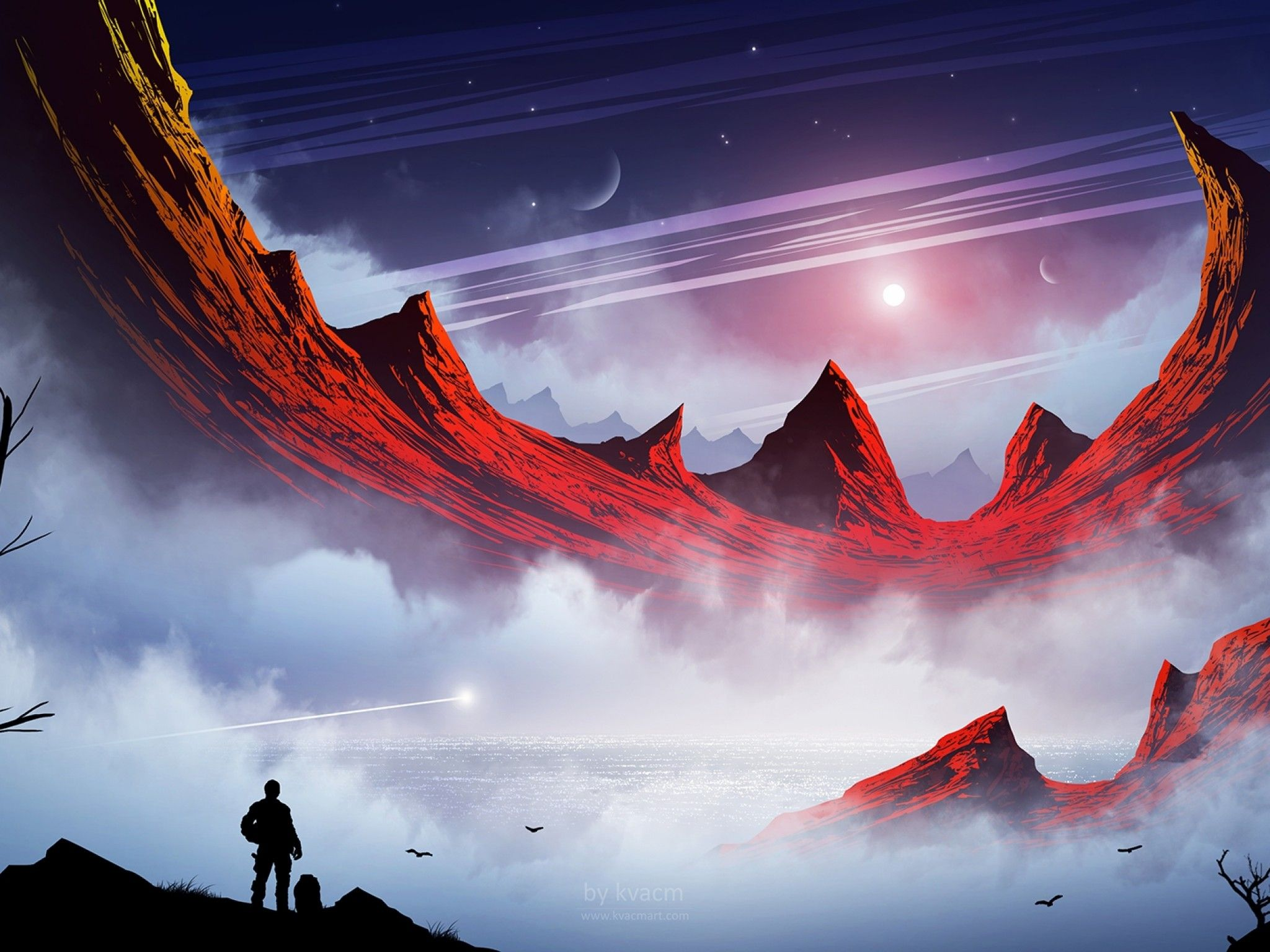 2048x1536 Download 2048x1536 Fantasy Landscape, Mountains, Man, Planets, Sci ...