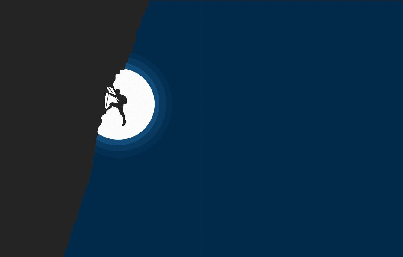 1332x850 Wallpaper sport, Moon, minimalism, night, mountain, man, digital art ...