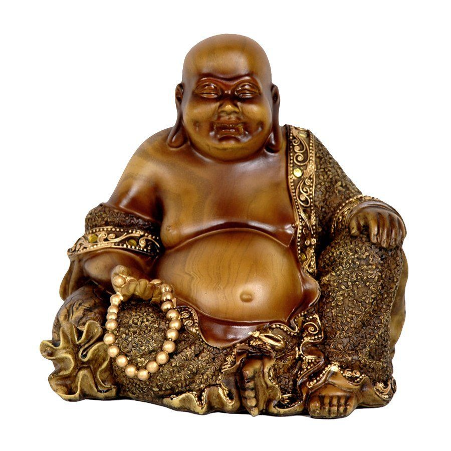 900x900 Oriental Furniture Faux Bronze 6-in Sitting Laughing Buddha Tabletop ...