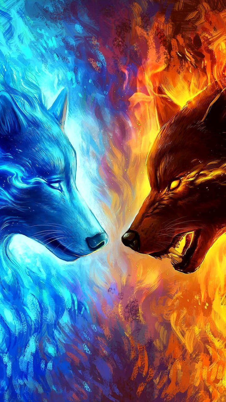 736x1308 Skol and Hati | Wolves | Wolf, Anime wolf, Art
