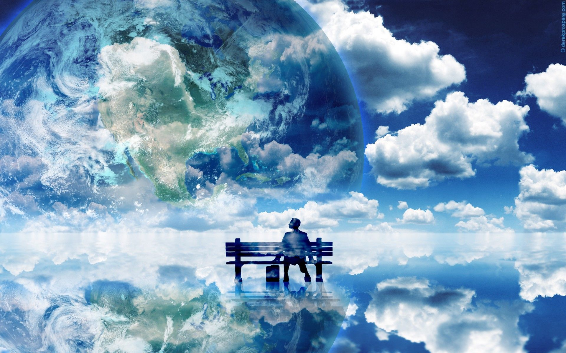 1920x1200 Man admiring surreal clouds and planet earth [1920x1200] : wallpapers