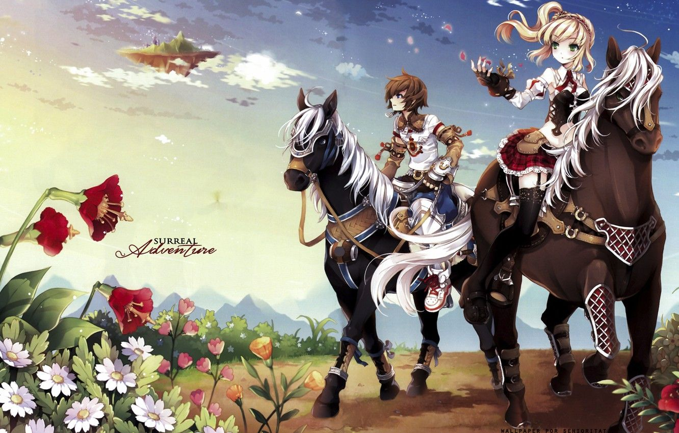 1332x850 Wallpaper horse, the game, anime, art, girl, guy, two, Surreal ...