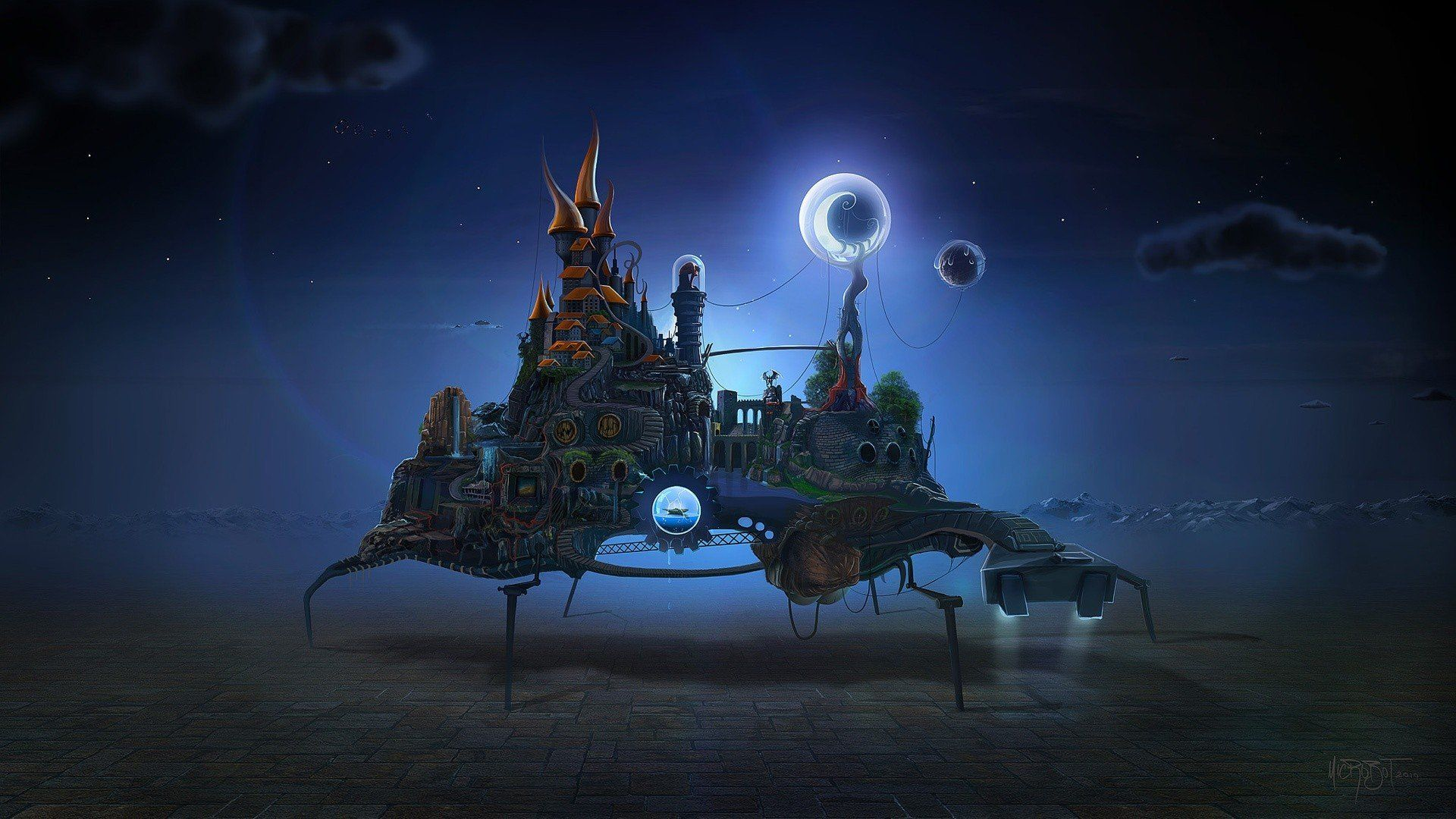 1920x1080 David Fuhrer, Night, Moon, Castle, Gears, Waterfall, Stairs, Surreal ...