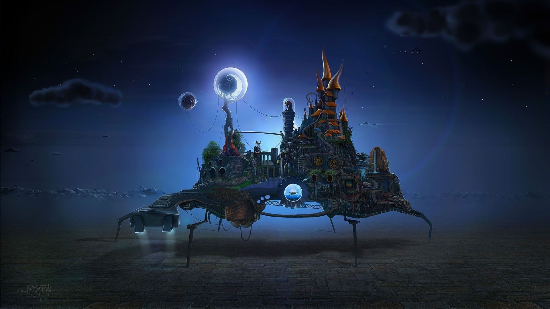 1920x1080 fantasy art surreal clouds tower stairs sphere lights house ropes ...