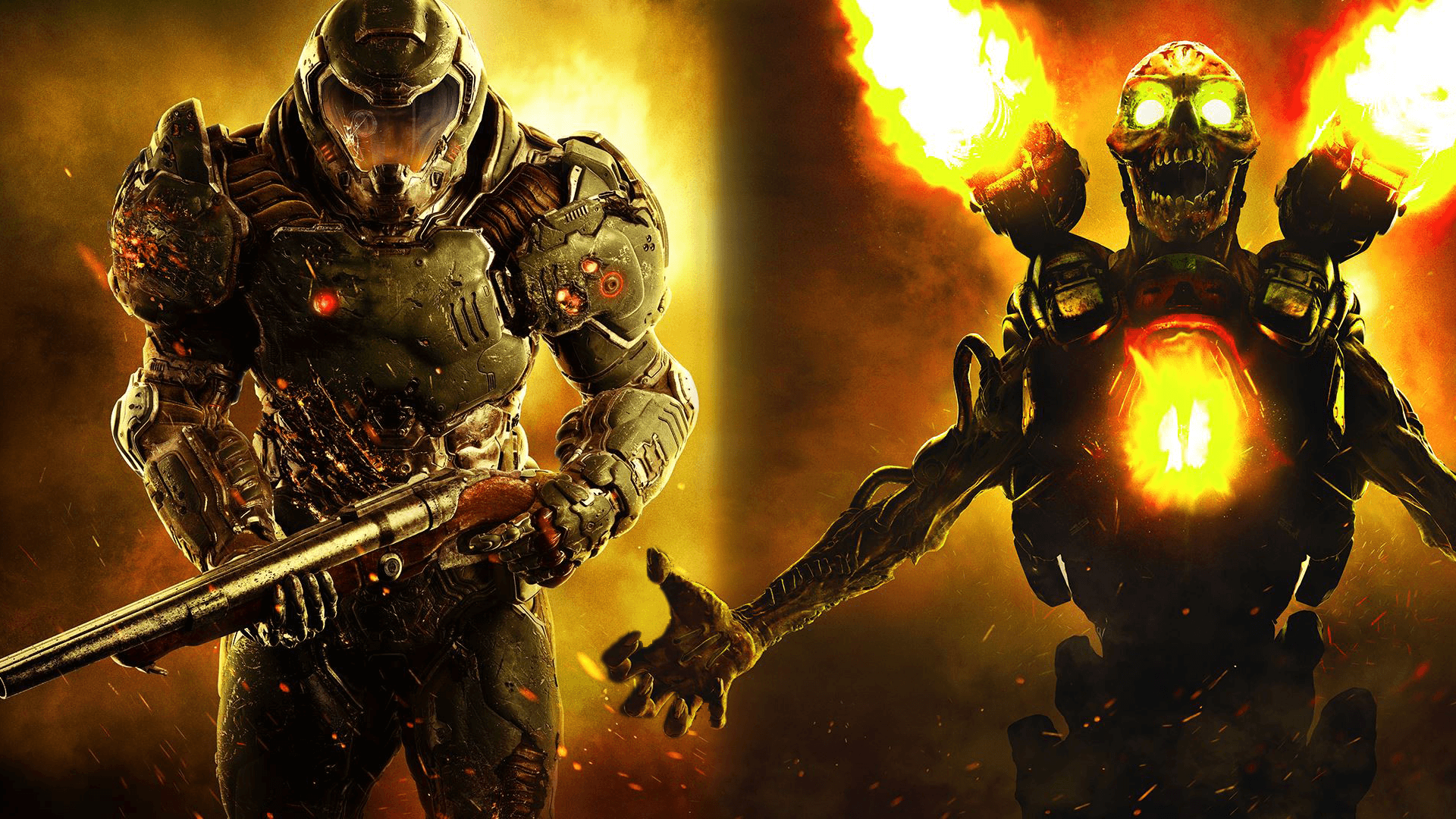 1920x1080 I made a combined wallpaper of my two favourite DOOM elements! : Doom