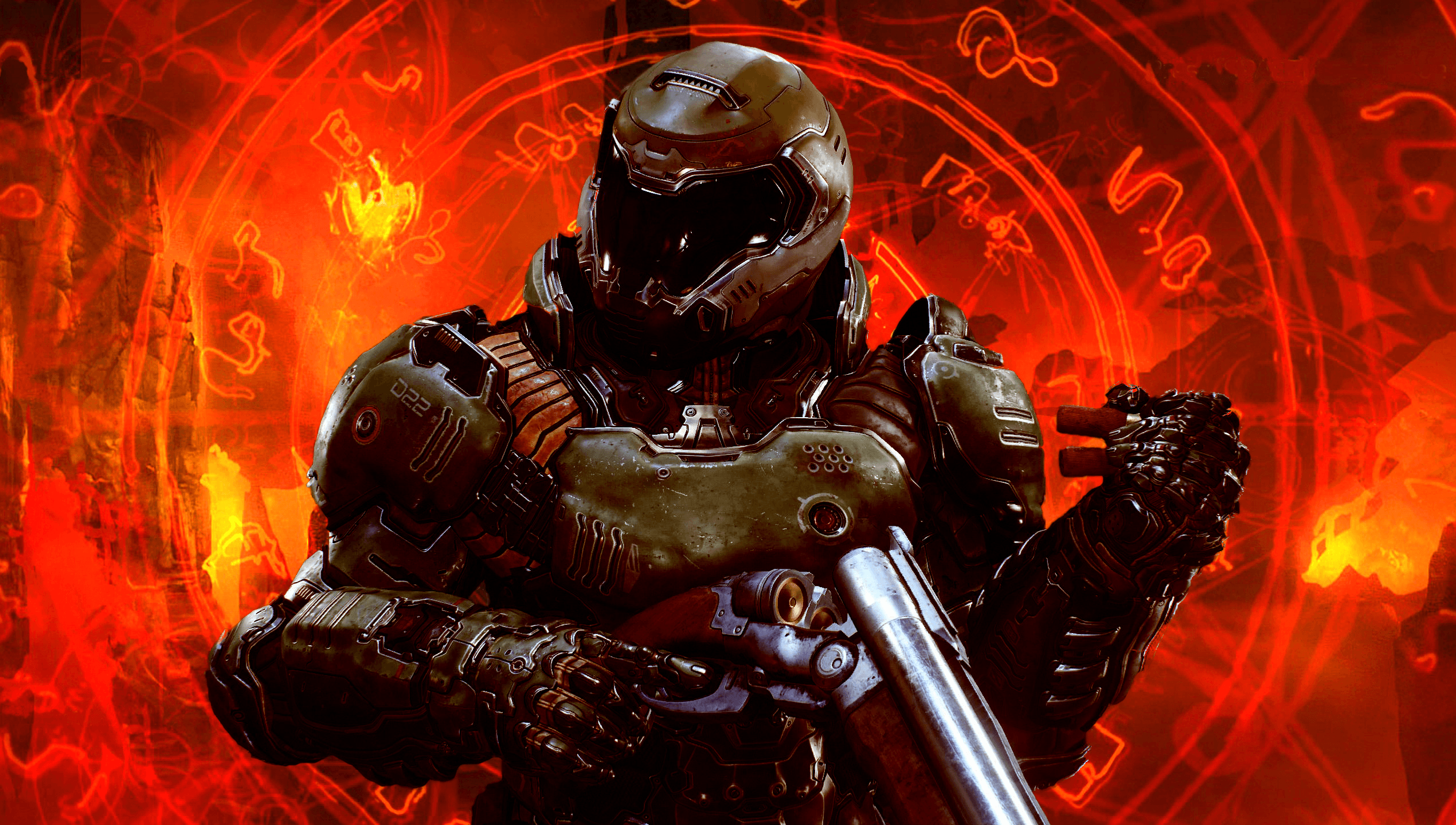 2540x1440 Made this new Desktop Background using the new image of the Doom ...