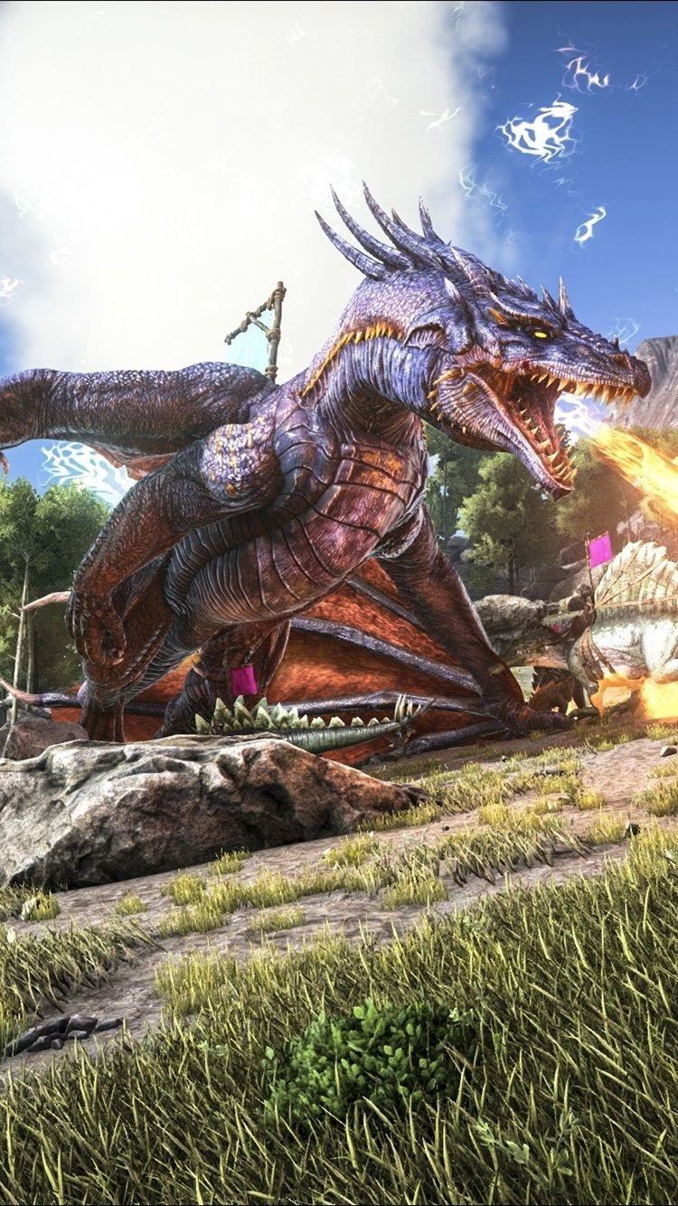750x1334 ARK: Survival Evolved, fire-breathing dragon 750x1334 iPhone 8/7/6 ...
