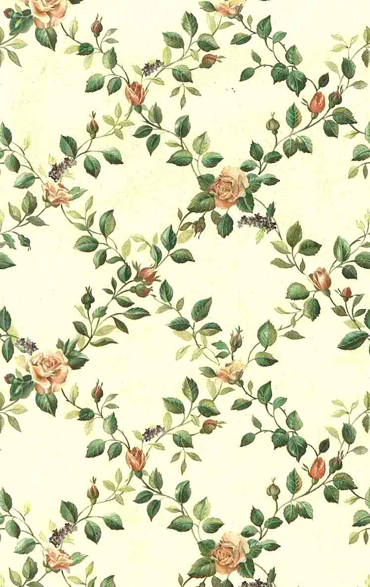 747x1185 Floral Lattice Vintage Wallpaper Rose Purple Green VC052753 D/Rs