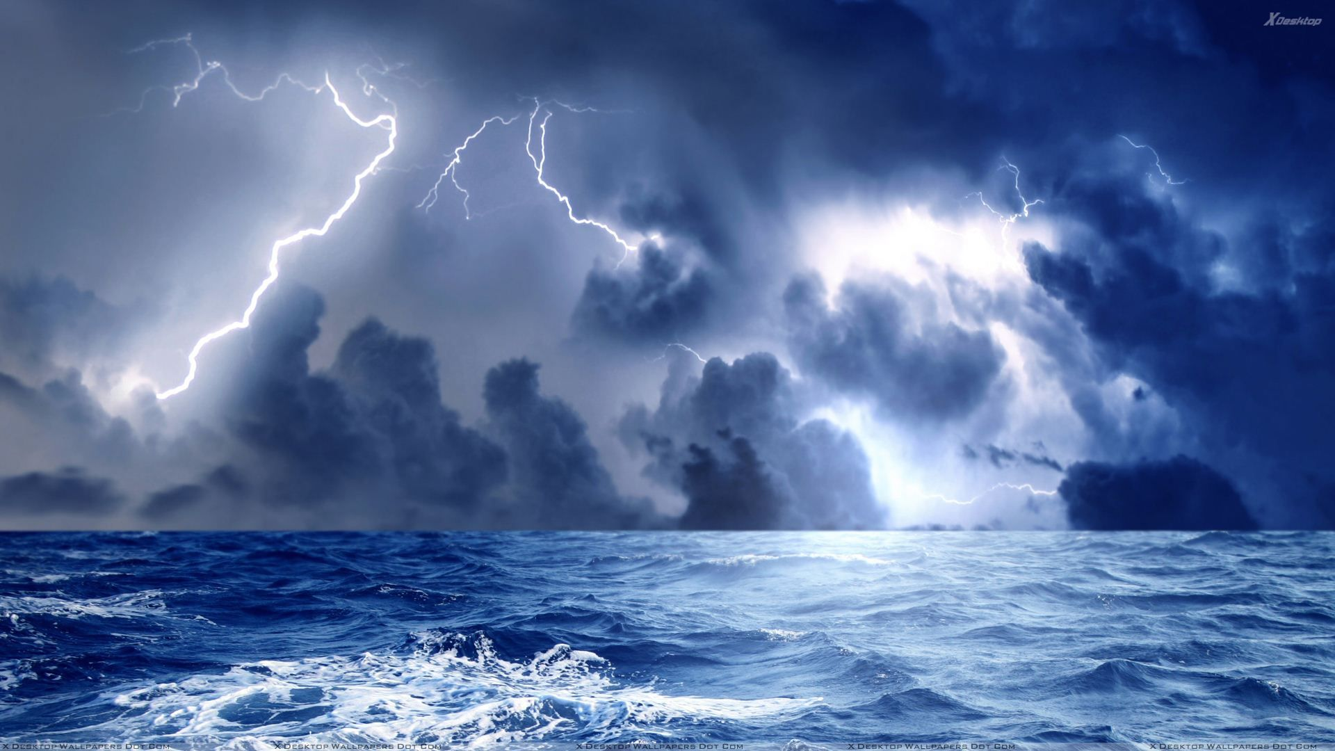 1920x1080 Storm And Blue Lightining At Sea Wallpaper