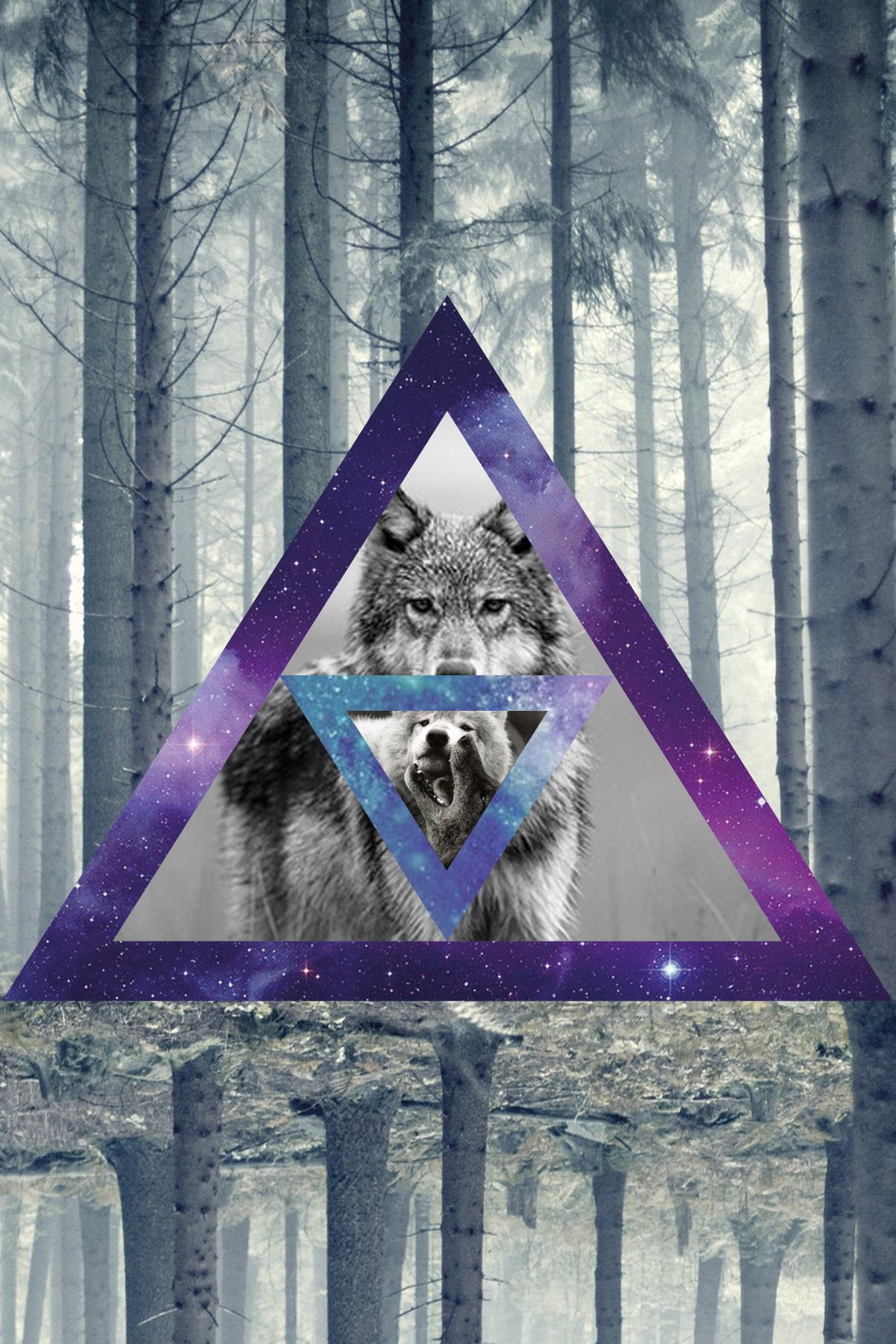 1200x1800 wolf #hipster #triangles #wood #woods #galaxy #galaxies | My Style ...