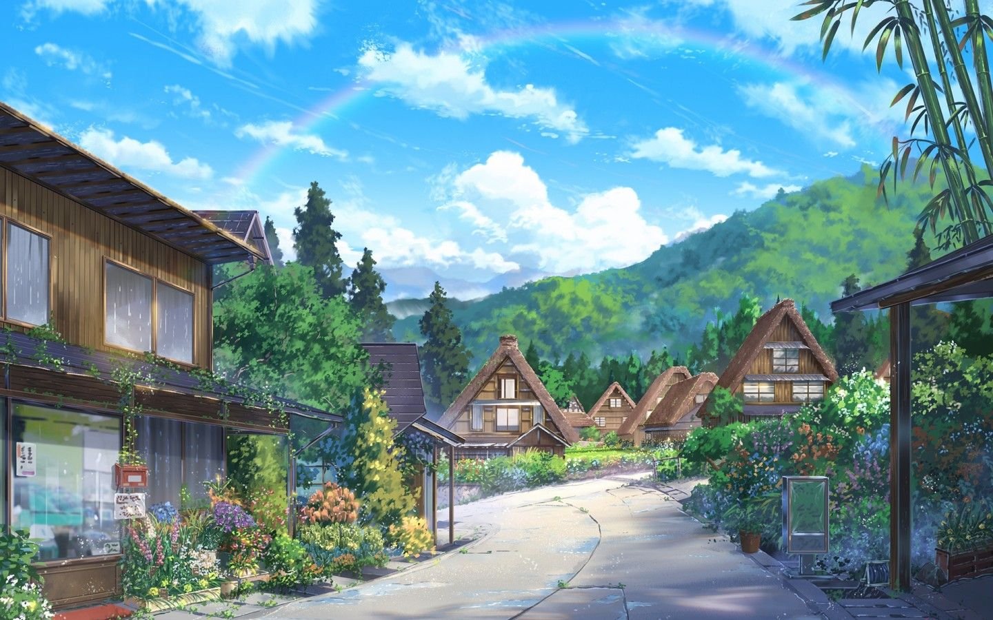 1440x900 Download 1440x900 Anime Landscape, Houses, Scenic, Clouds, Nature ...