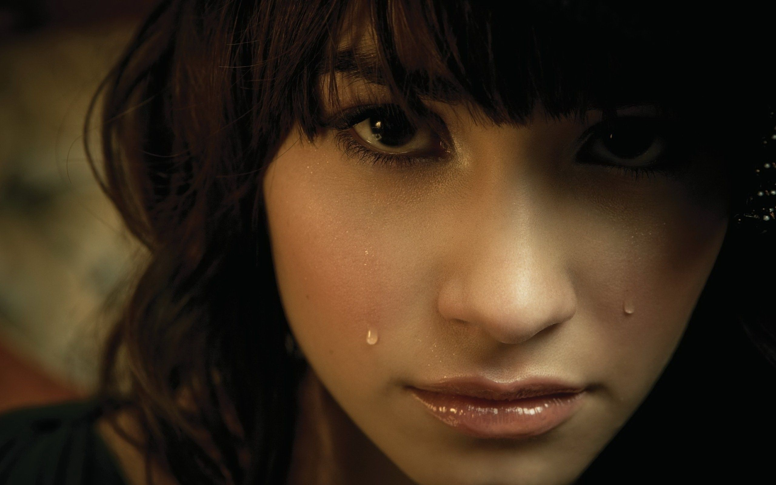 2560x1600 Demi lovato, Brunette, Eyes, Tears wallpaper and background