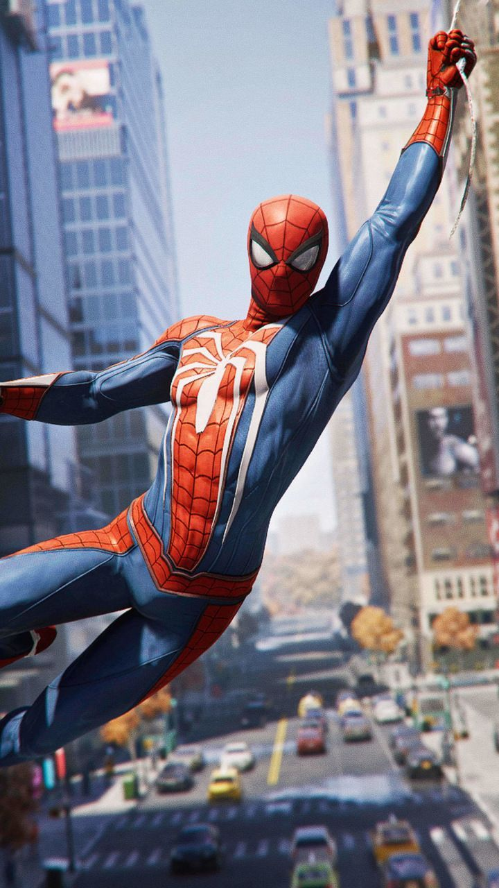 720x1280 Spider-man Ps4, video game, hanging, 2018, 720x1280 wallpaper ...