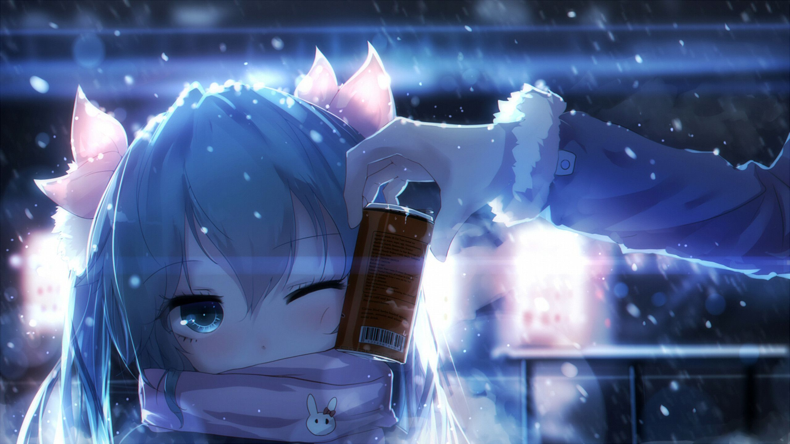 2560x1440 Anime Wallpaper 2560 x 1440 Hatsune Miku, snow, cold, blue, scarf ...
