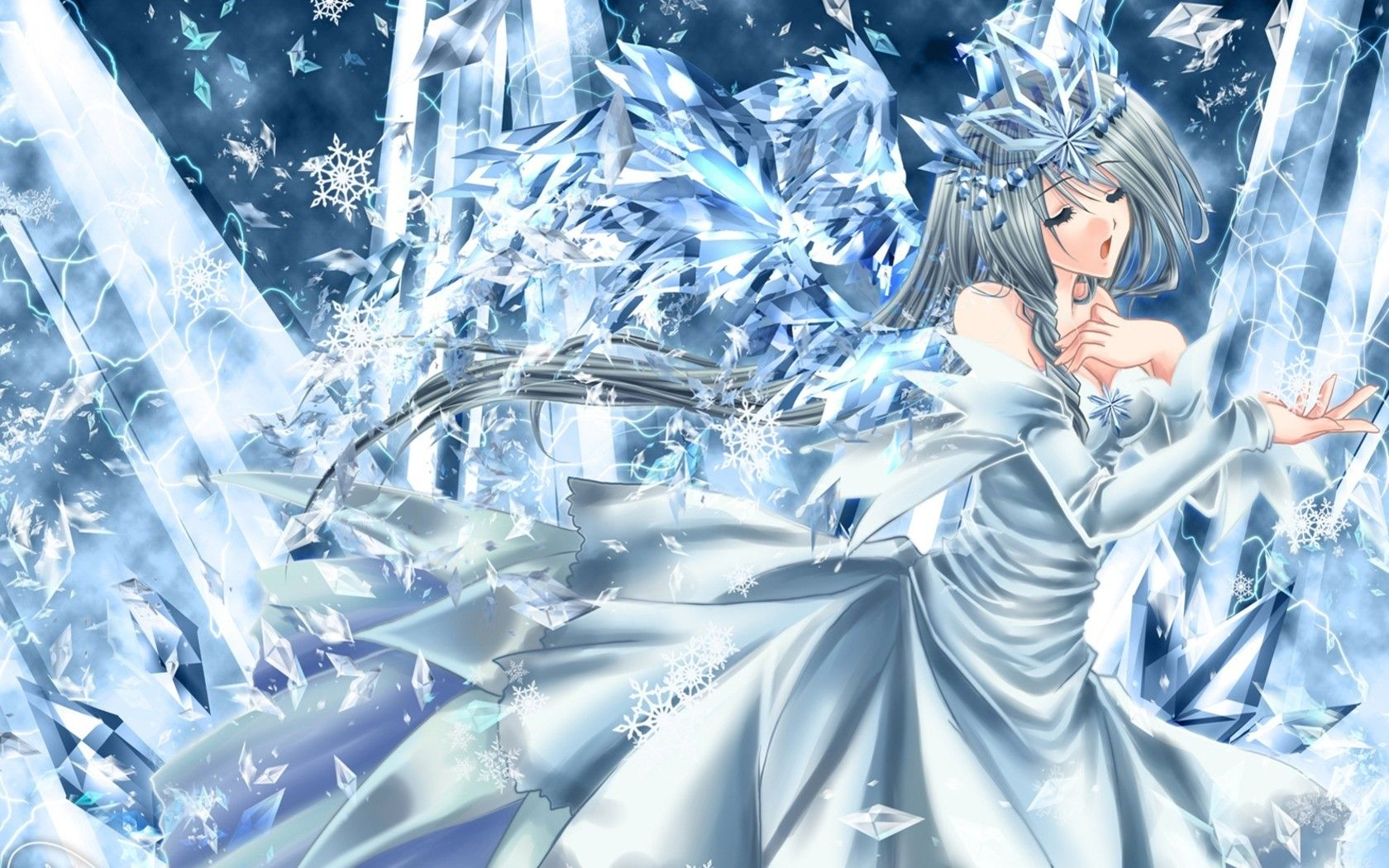 1680x1050 Anime, Girl, Winter, Cold, Dress wallpaper and background