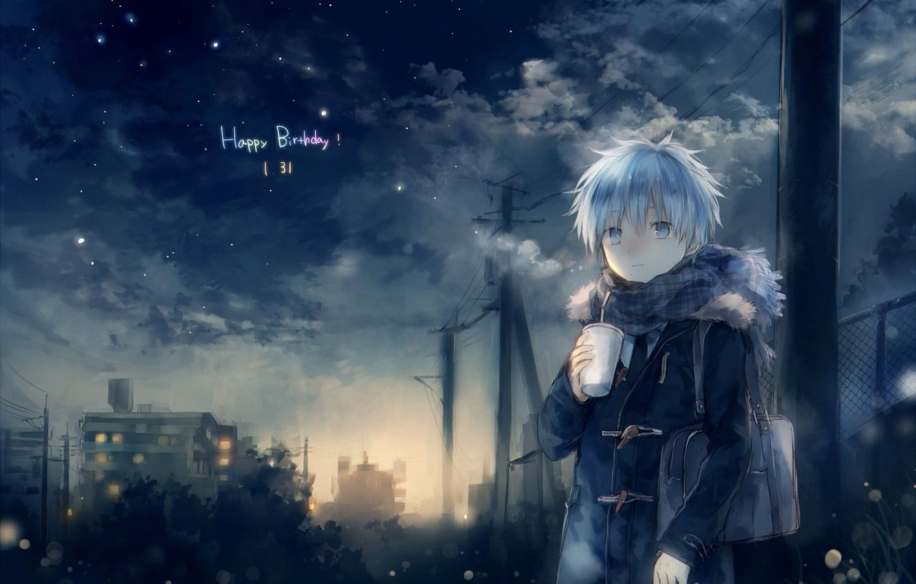 1332x850 Wallpaper cold, the sky, stars, clouds, night, anime, scarf, art ...